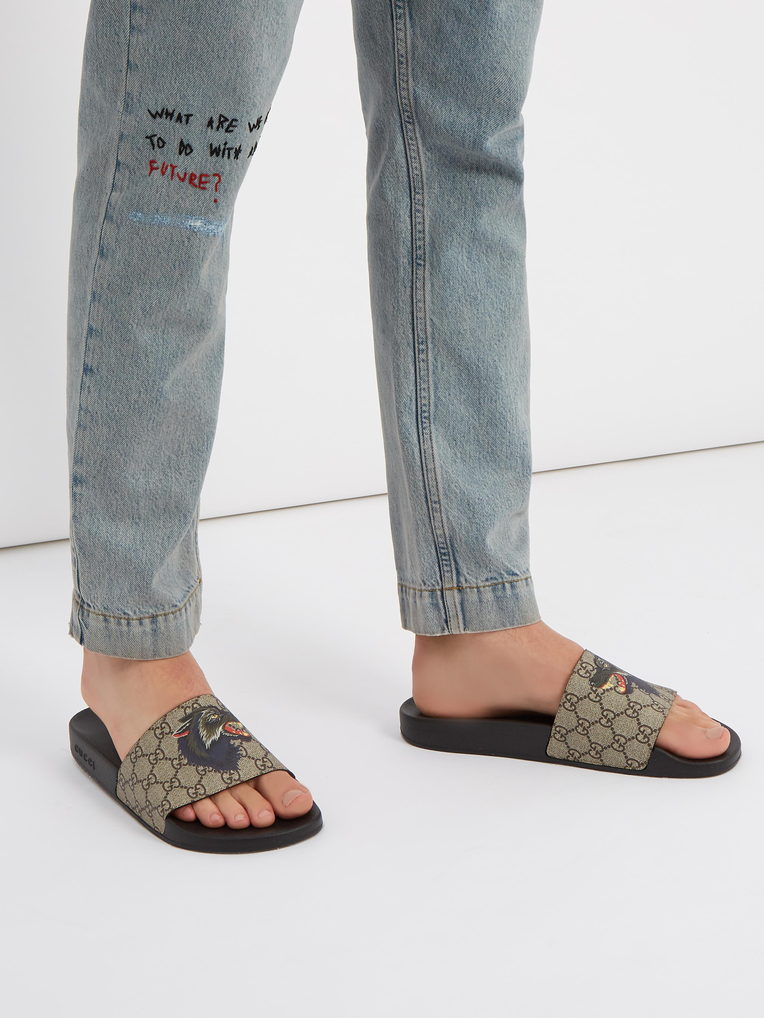 0a88c71186b48c Gucci Wolf-print Gg Supreme Slides for Men - Lyst