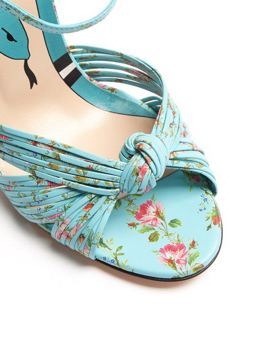 4bebc4bef Lyst - Gucci Allie Floral-print Leather Sandals in Blue