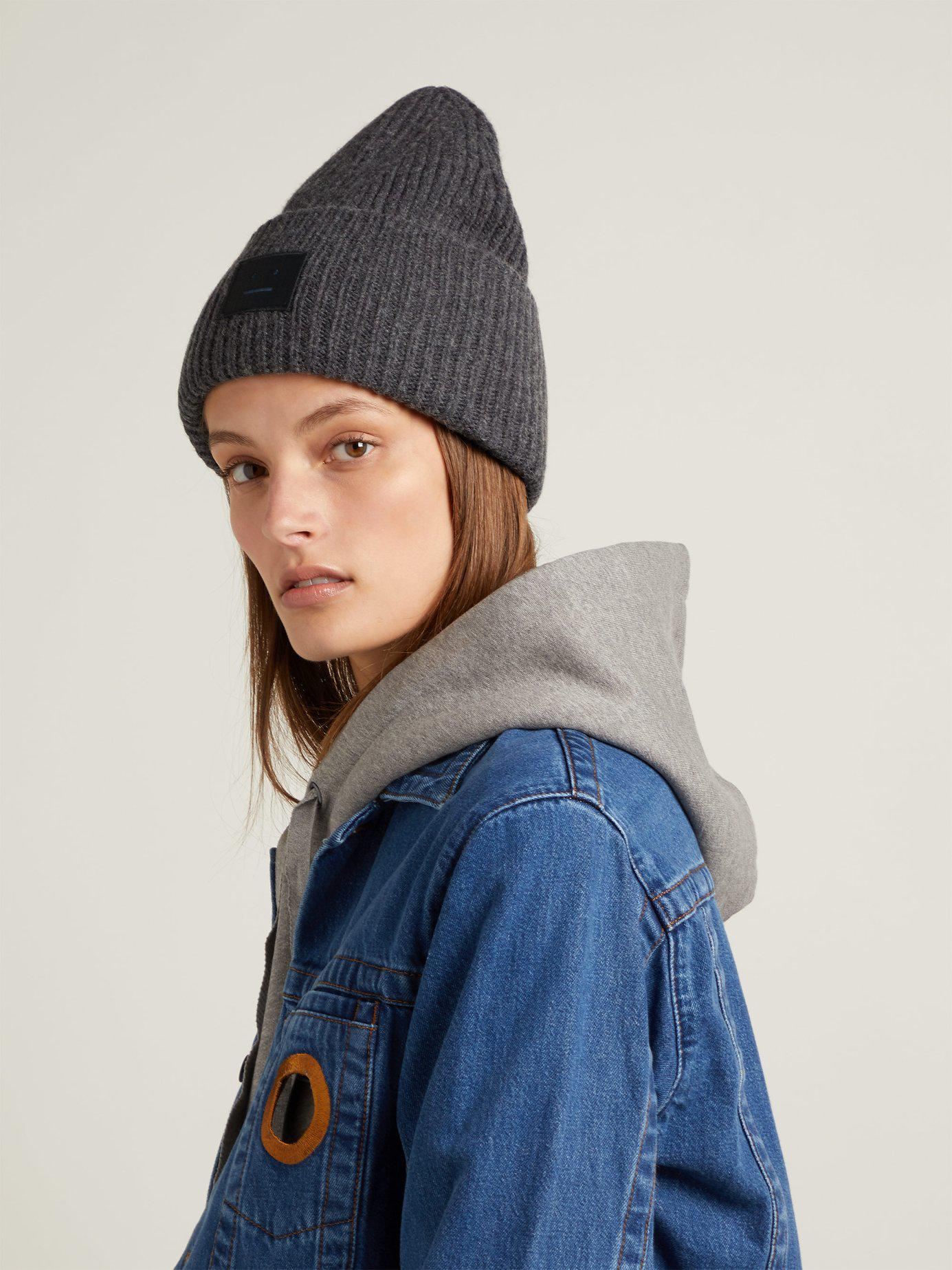 e73fc507143 Lyst - Acne Studios Pansy S Face Ribbed Knit Beanie Hat in Gray