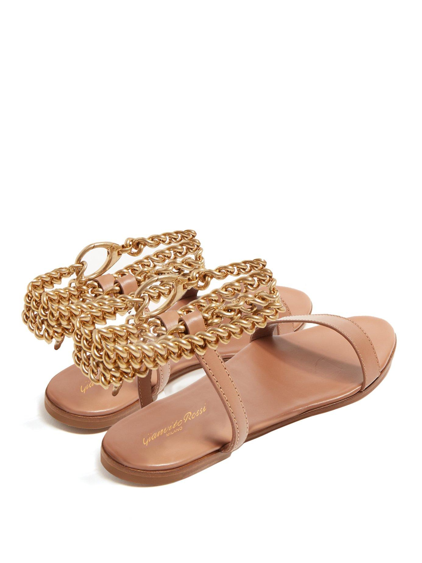 c624dc25f Gianvito Rossi - Multicolor Chain Ankle Strap Leather Sandals - Lyst. View  fullscreen