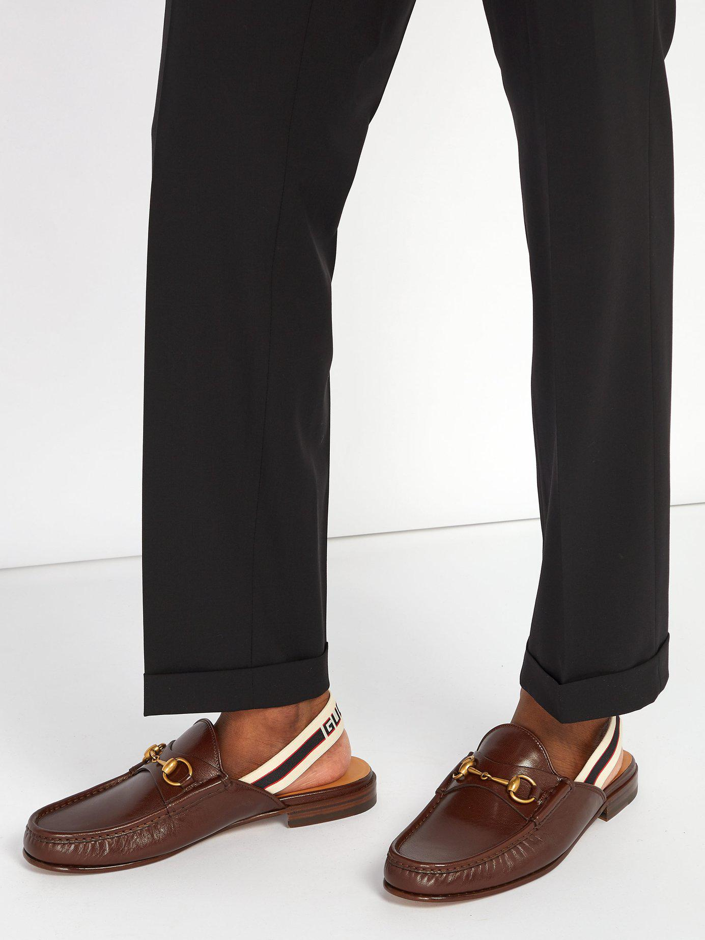 168115edd75 Lyst - Gucci Roos Horsebit Slingback Strap Leather Loafers in Brown for Men