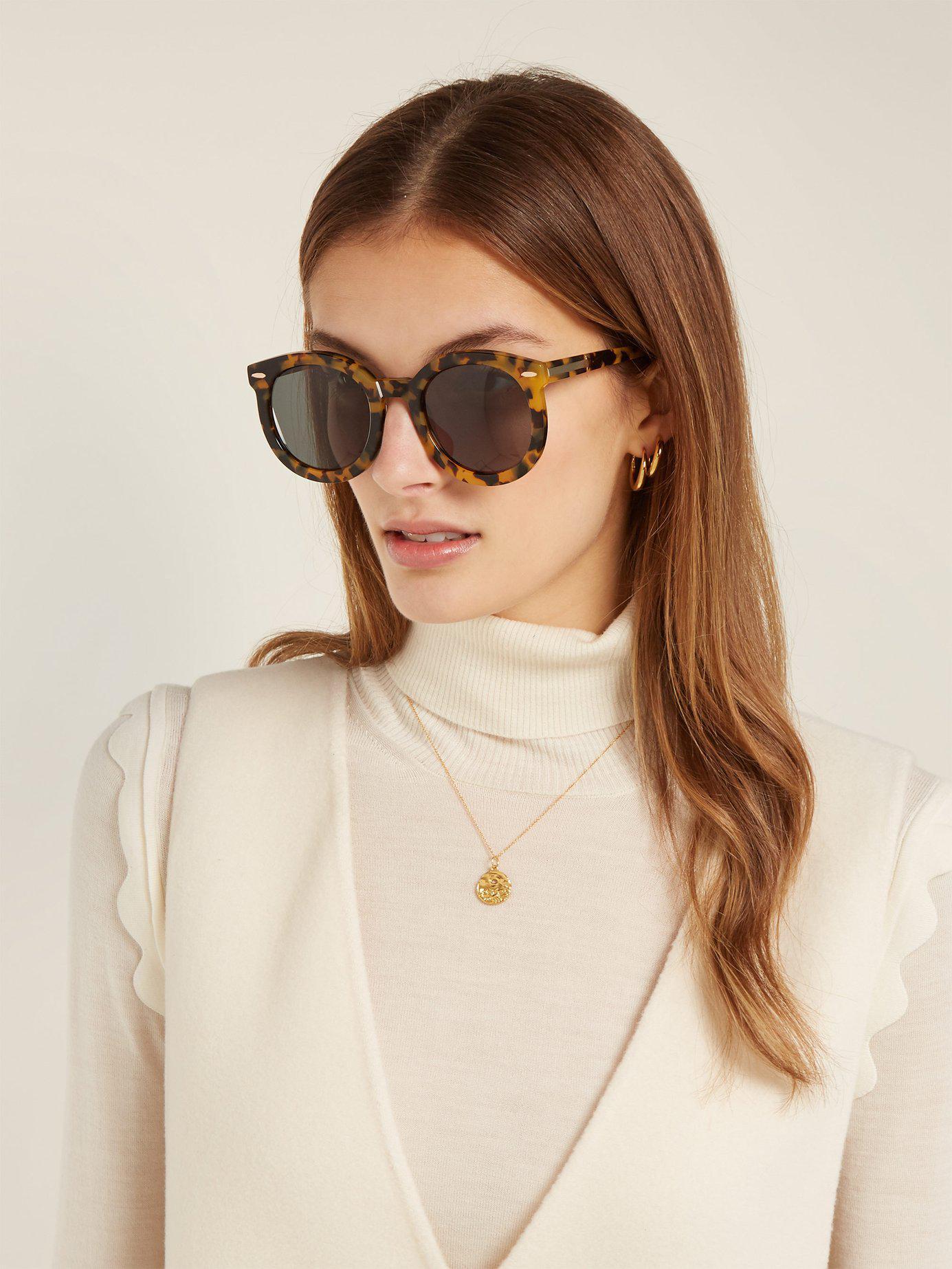 557037623 Karen Walker Super Duper Strength Round Frame Sunglasses in Brown - Lyst
