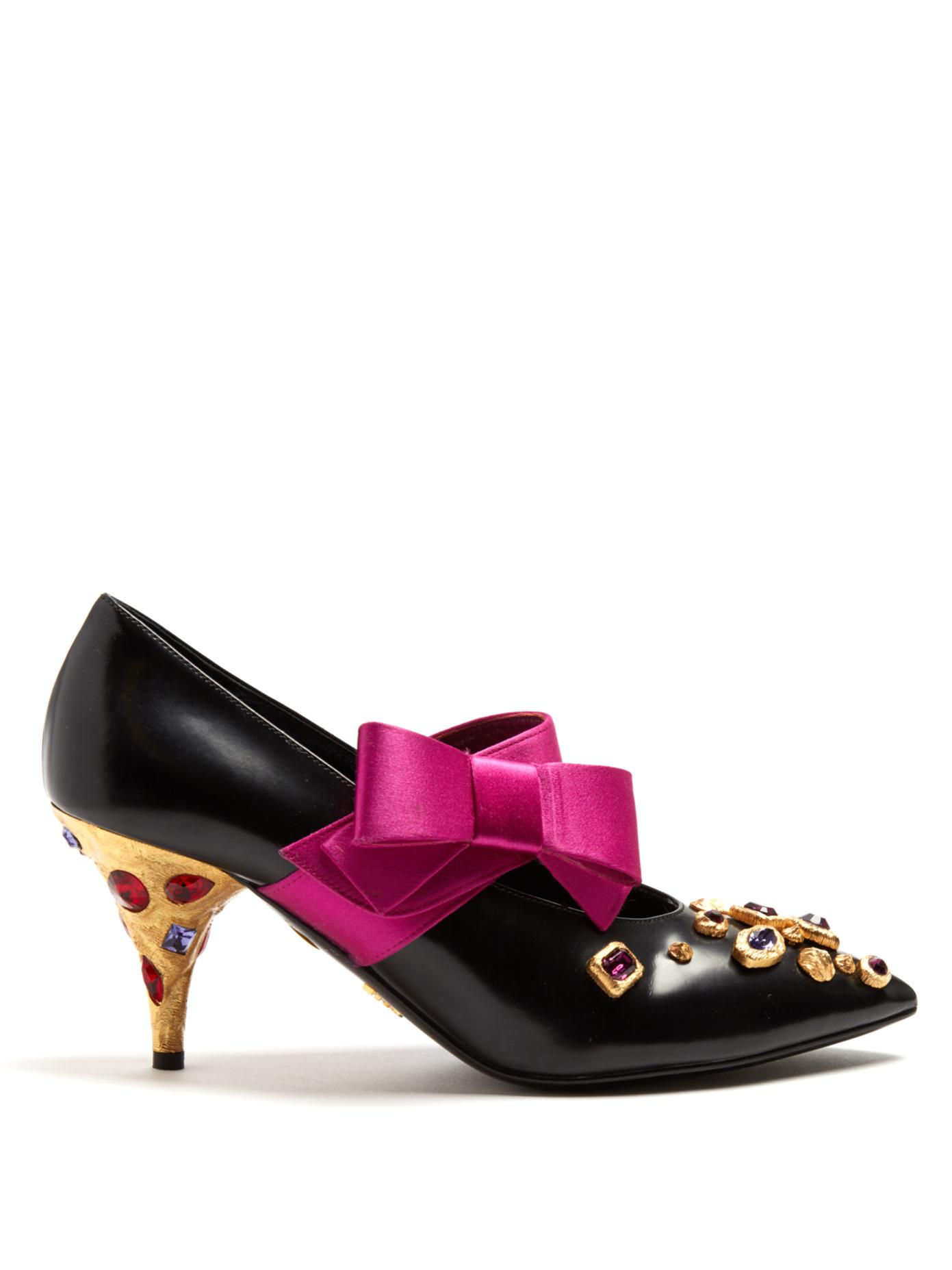 logo bow embellished pumps - Pink & Purple Prada p3otoWgMoH