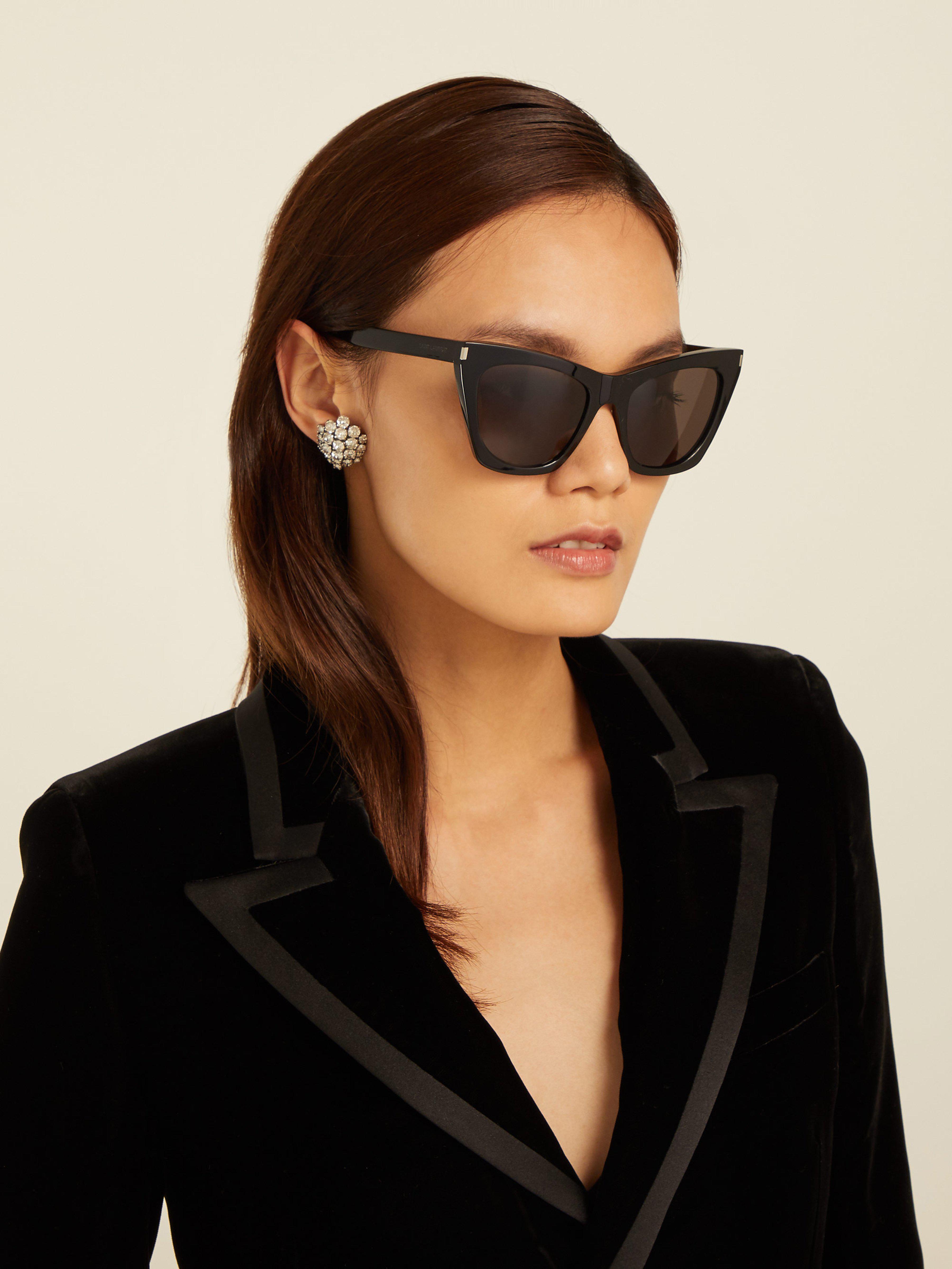 ecc553c5230 Saint Laurent Kate Cat Eye Acetate Sunglasses - Lyst