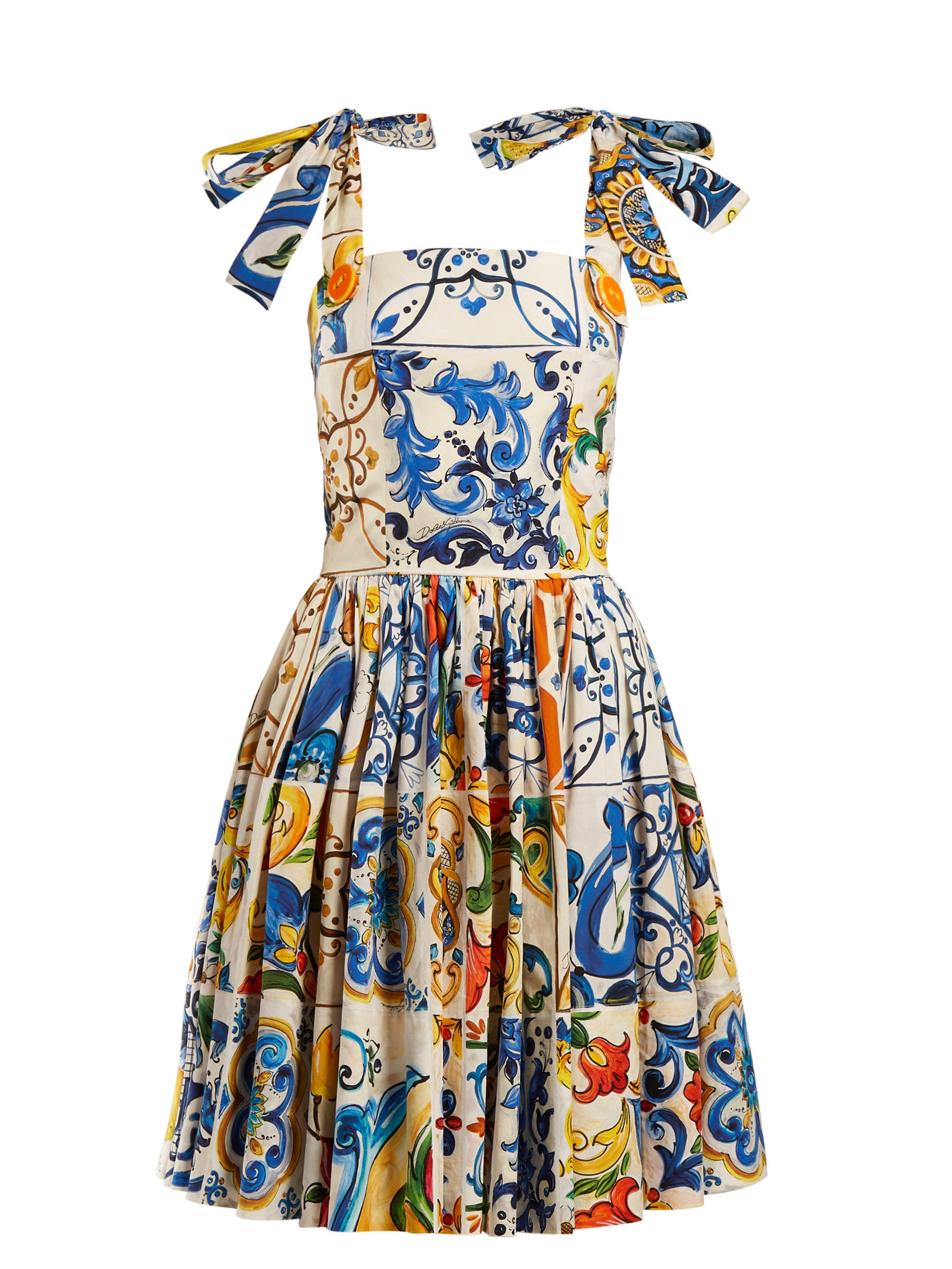 Dolce Gabbana amp; White Poplin In Cotton Print Majolica Lyst Dress Mini rCrdqw5