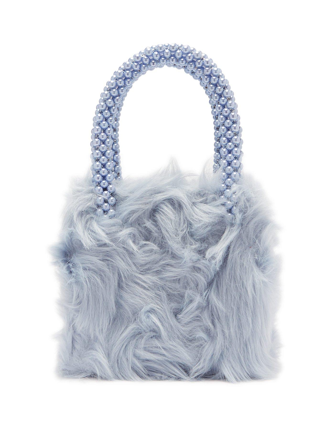 59d4dbc1ed71 Lyst - Shrimps Halley Faux Fur And Faux Pearl Bag in Blue