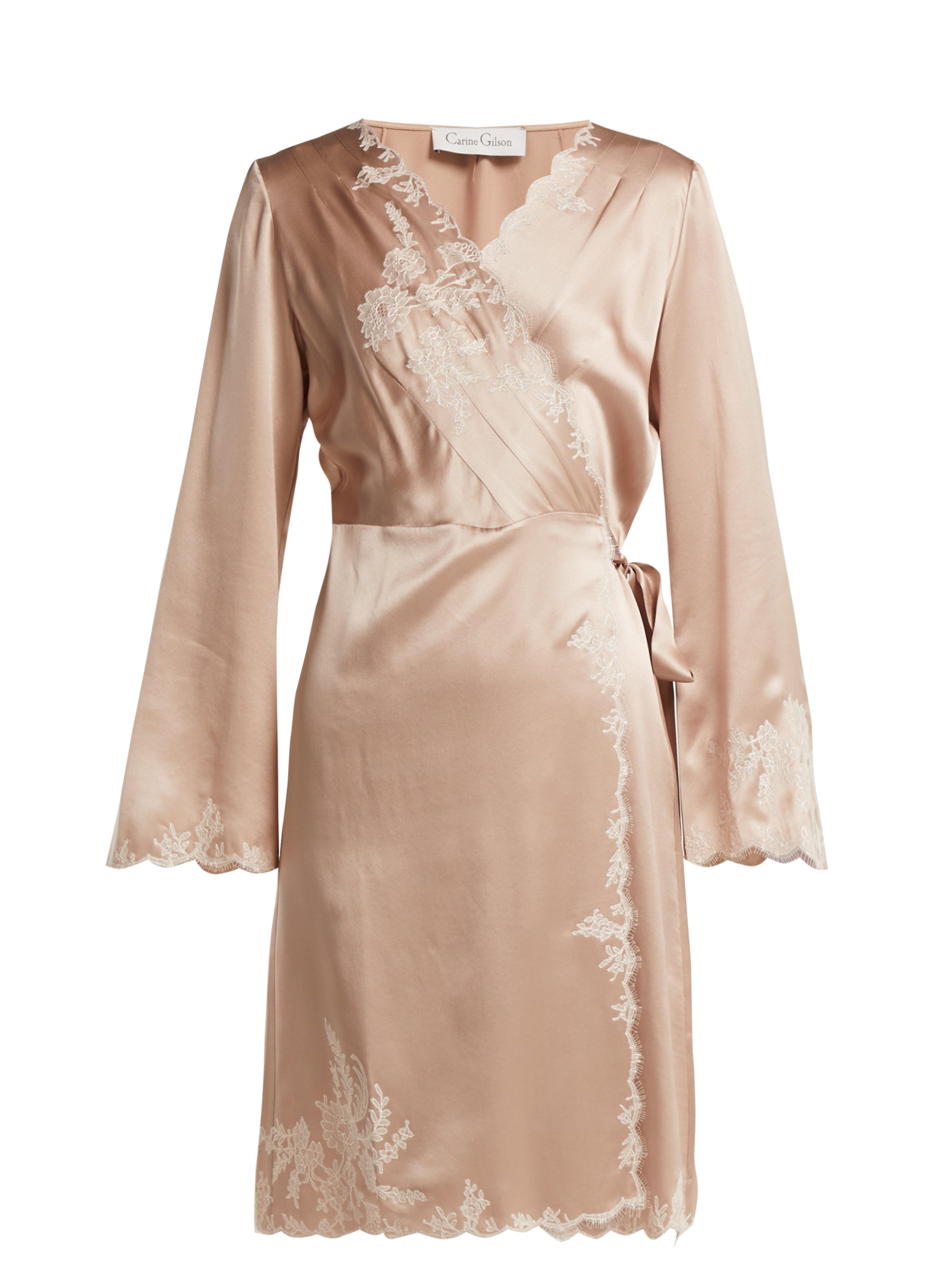 97a6ef5097e Carine Gilson - Pink Lace Trimmed Silk Satin Robe - Lyst. View fullscreen