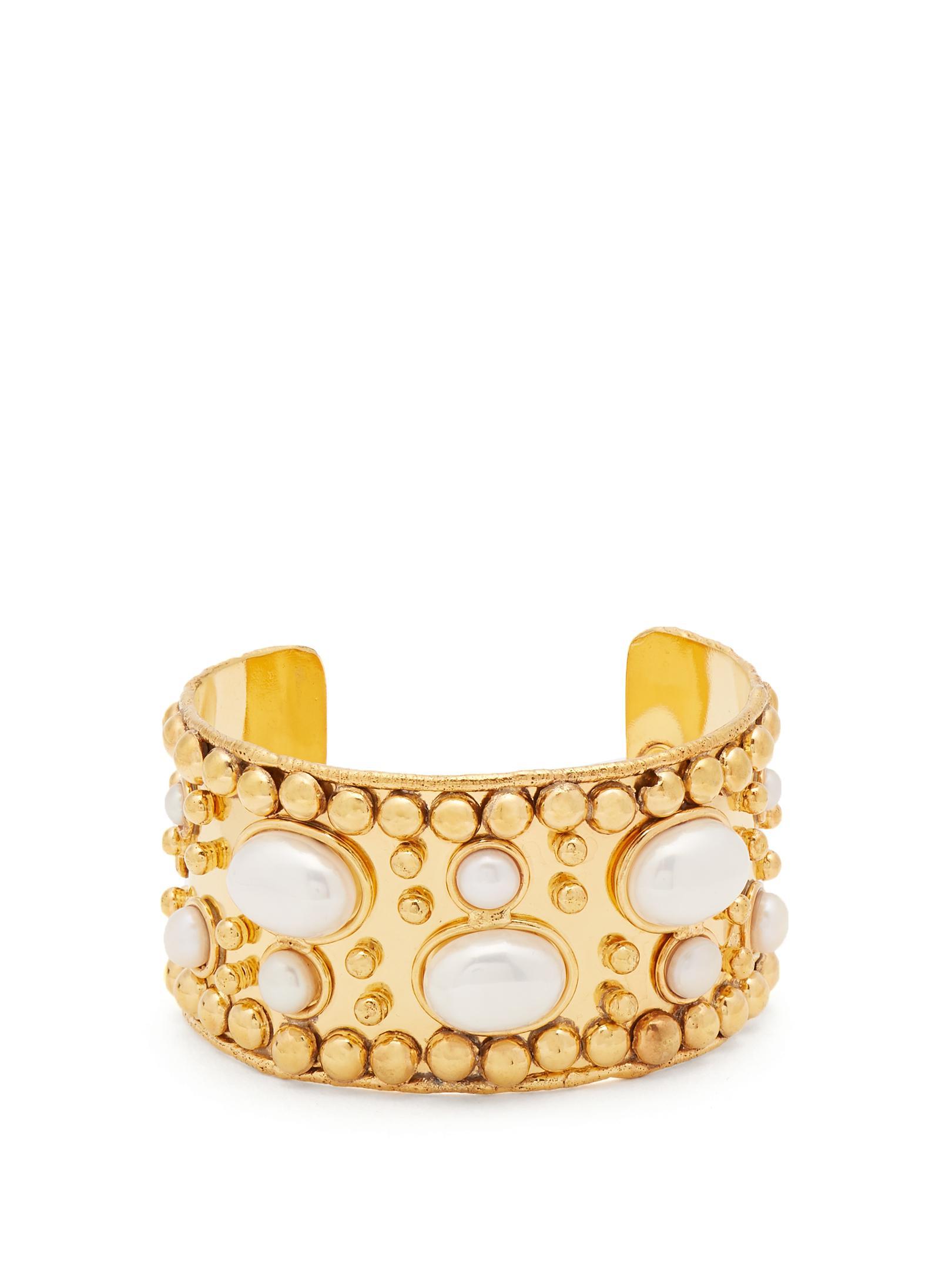Sylvia Toledano Stone Massaii Cuff Bracelet in Gold-Plated Brass DJagWCpP
