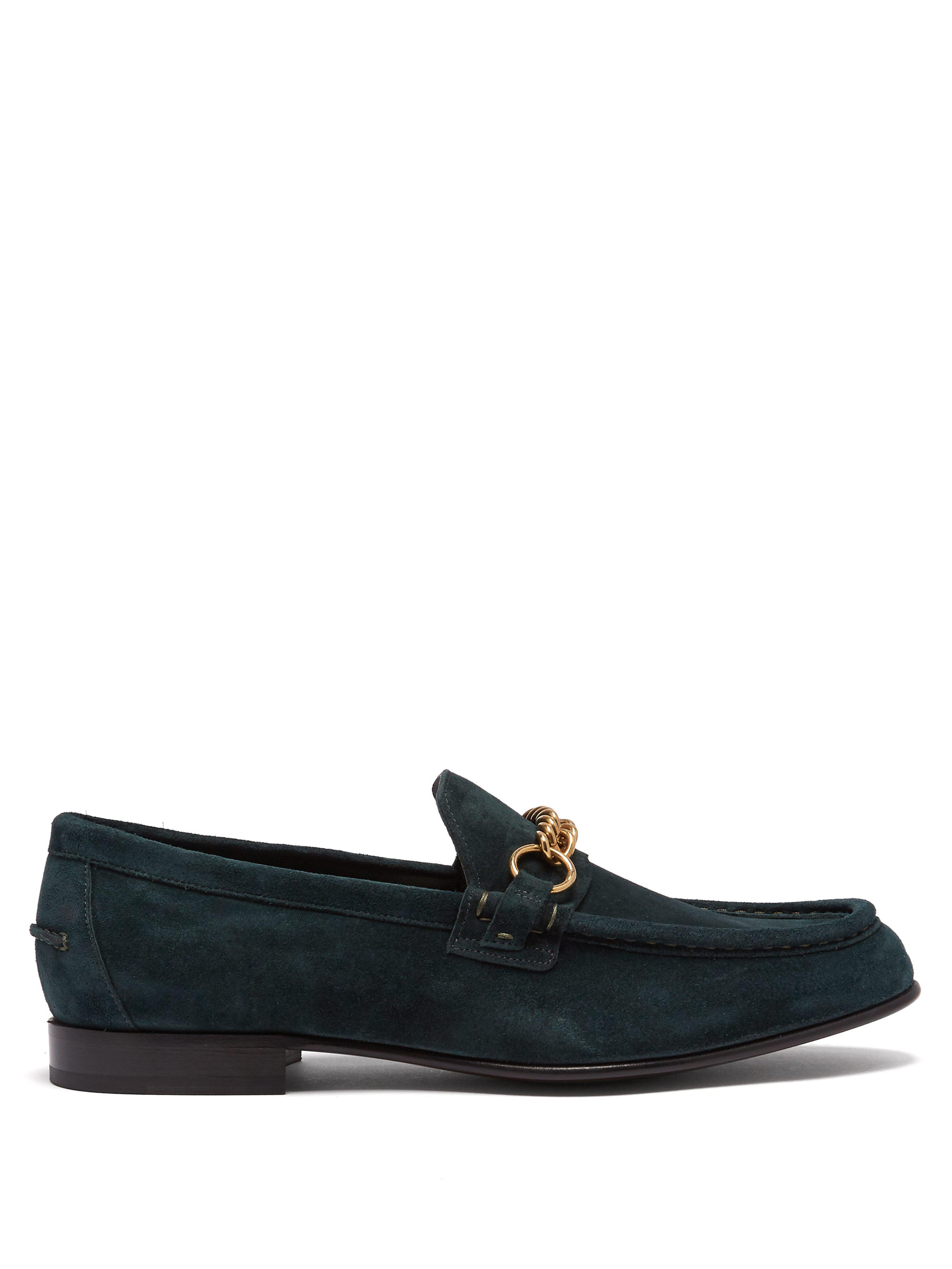 43662dc508e Burberry Solway Chain Suede Loafers in Green for Men - Lyst