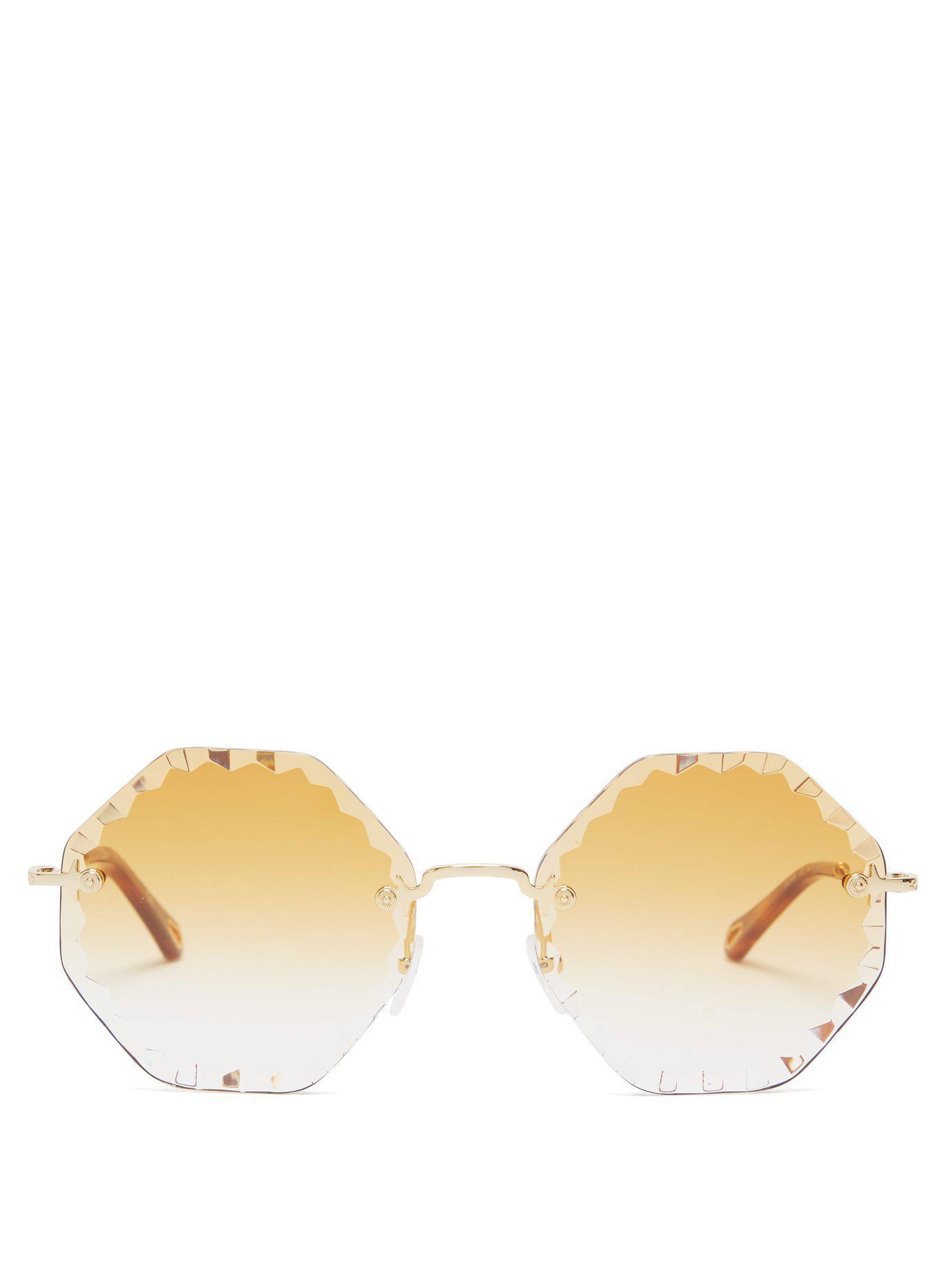 a05ac2d0361 Chloé - Metallic Rosie Octagon Frame Sunglasses - Lyst. View fullscreen