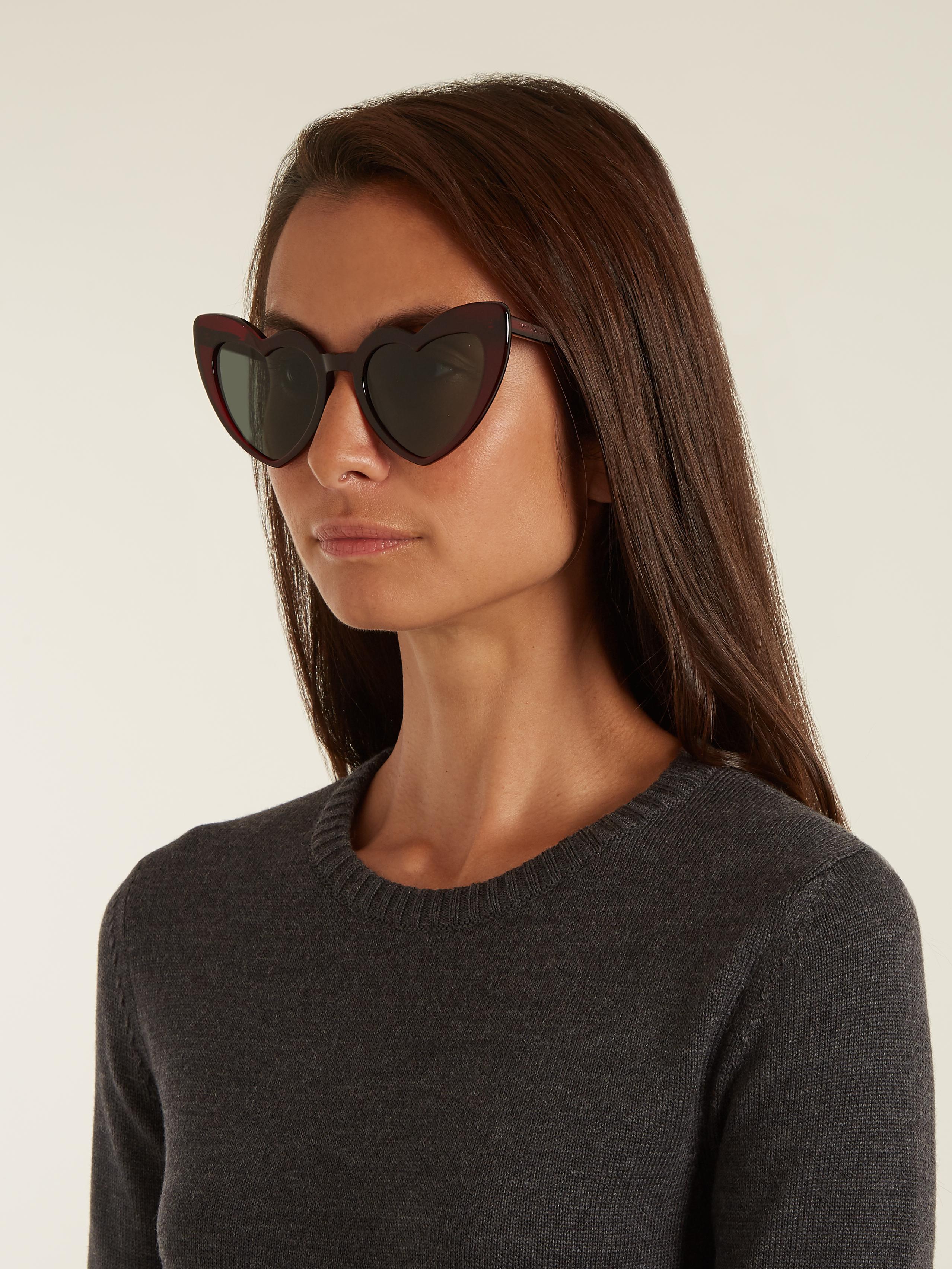 eb3d624cc6 Lyst - Saint Laurent Loulou Heart-shaped Acetate Sunglasses