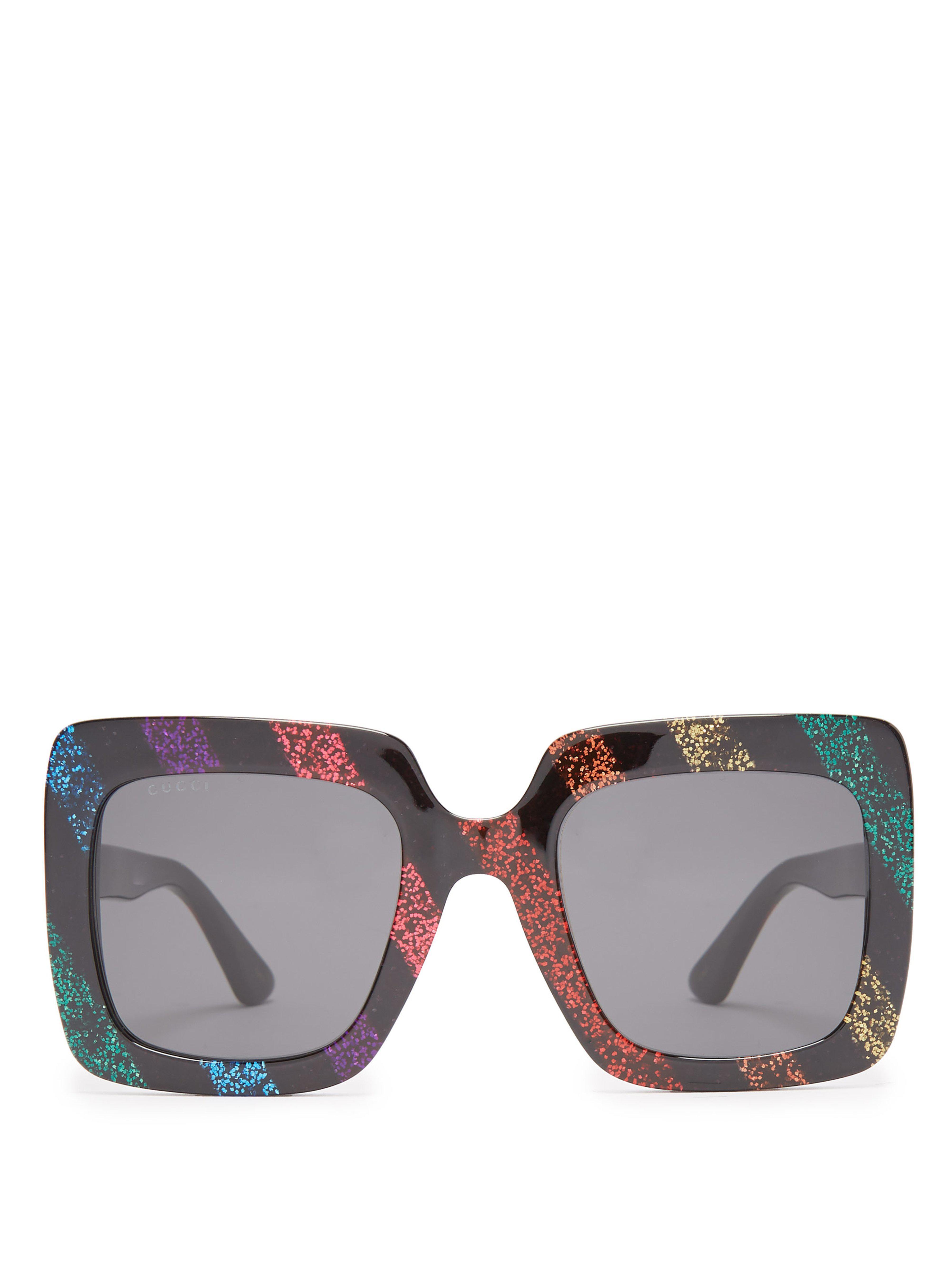 8c34fc3f3e Gucci Square Frame Glitter Acetate Sunglasses - Save 4% - Lyst