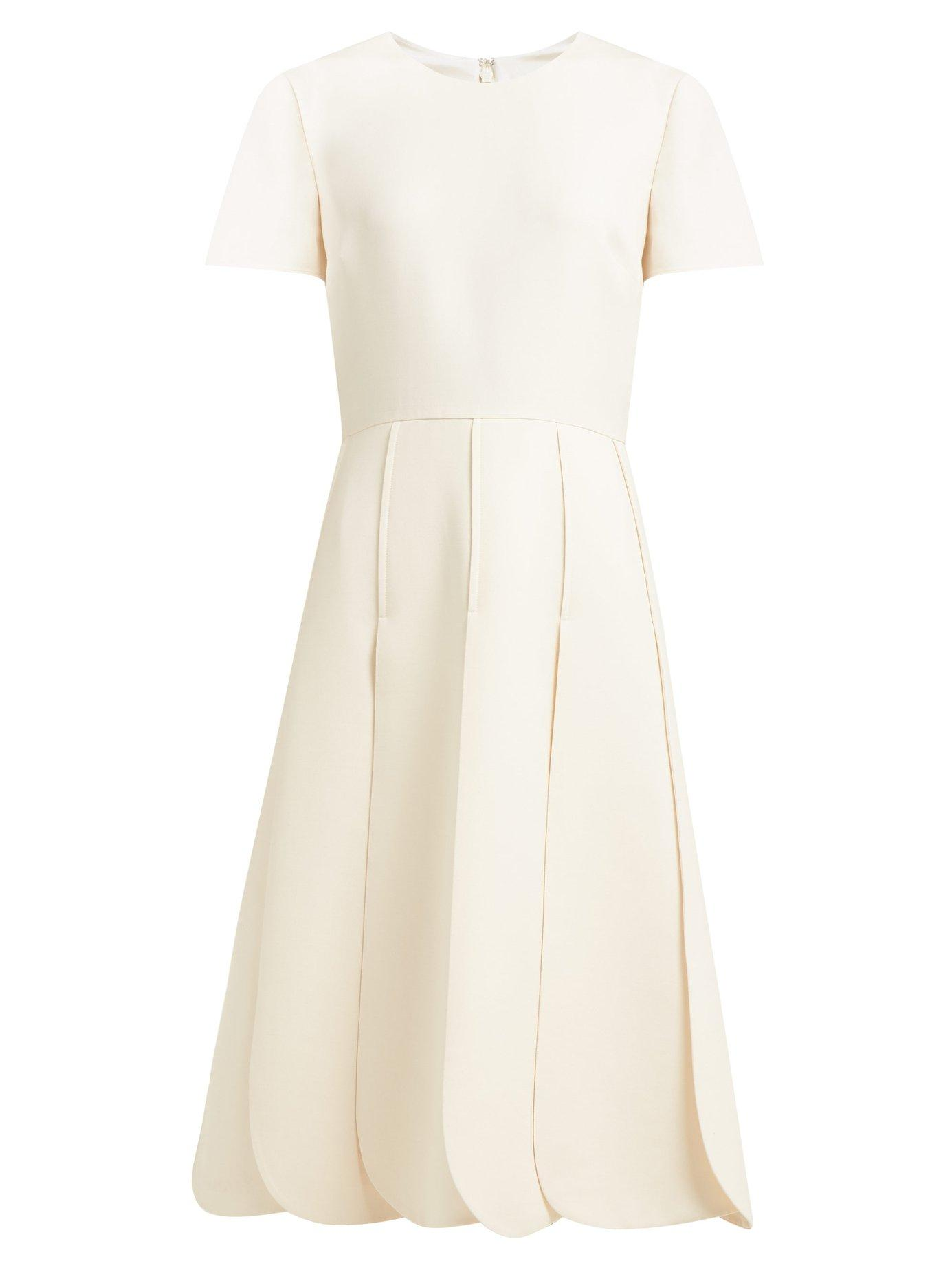 d01572d259b Lyst - Valentino Overlap Pleat Wool Blend Dress in White