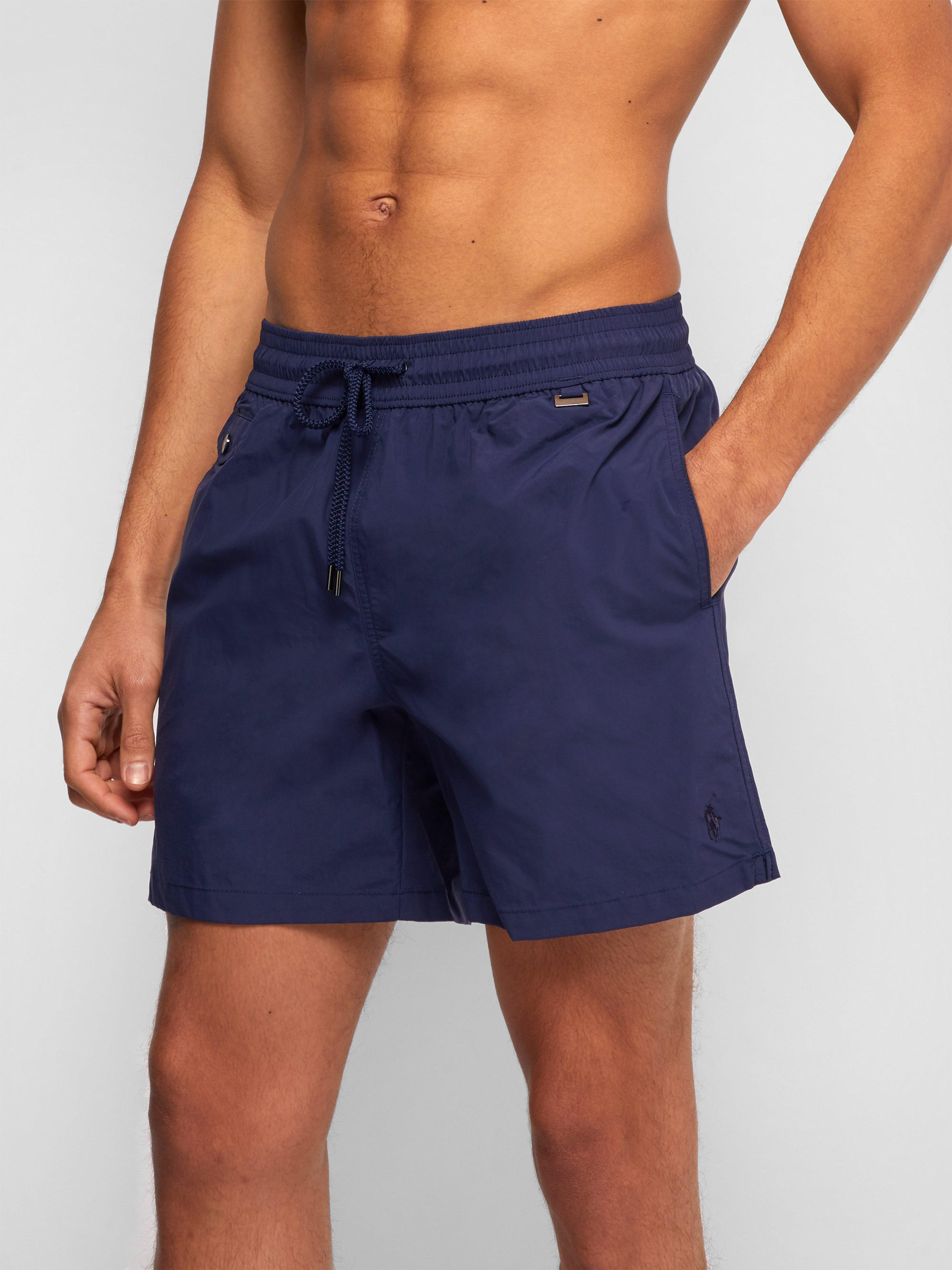 627855985c Polo Ralph Lauren Explorer Fit Logo Embroidered Swim Shorts in Blue for Men  - Lyst