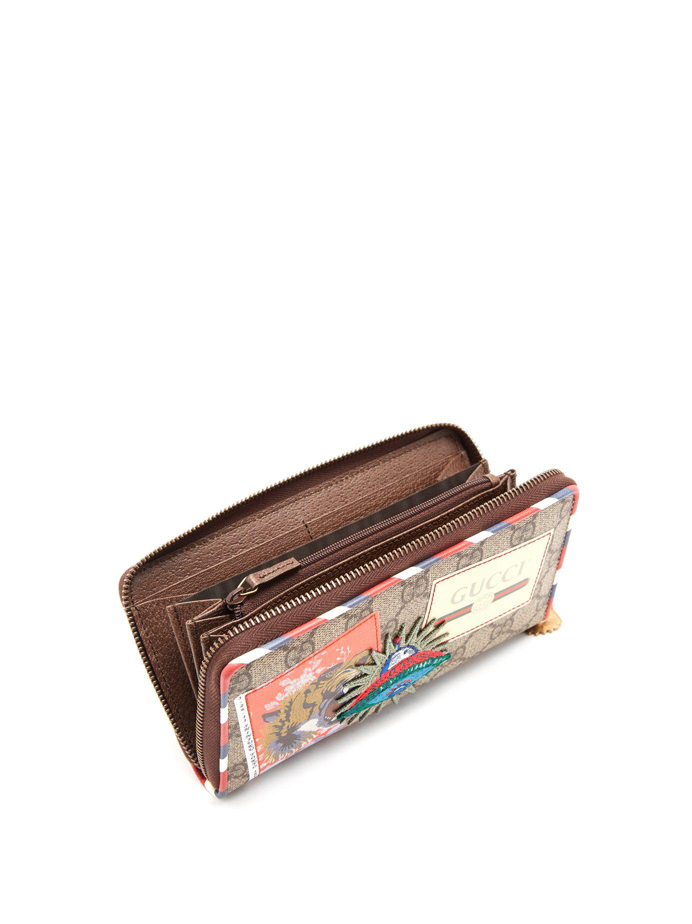 7769c175e19d Gucci Courrier Gg Supreme Zip-around Wallet in Brown for Men - Save 5% -  Lyst