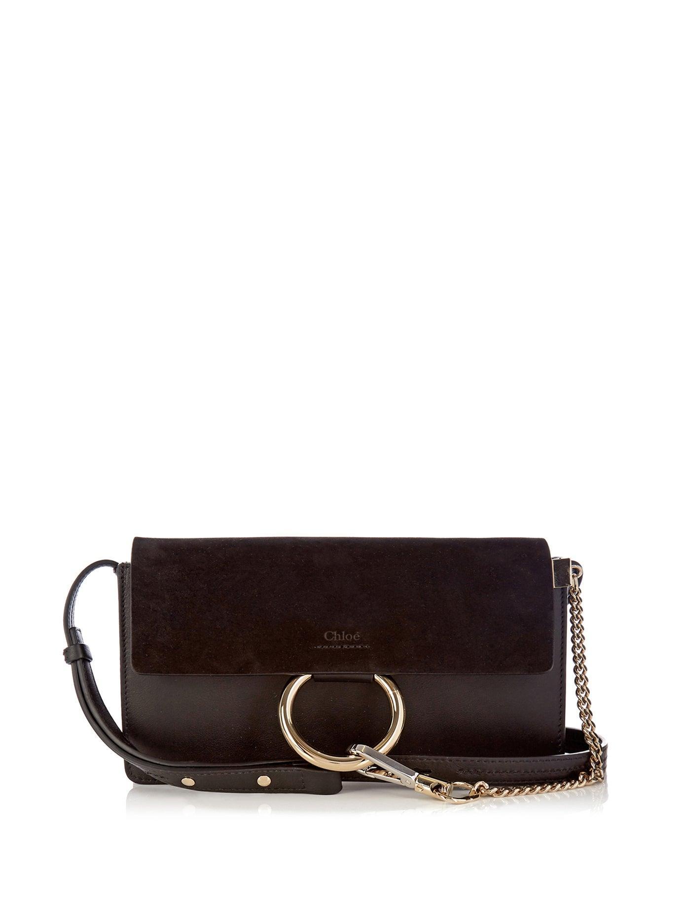 de0c307c8bd87 Chloé Faye Mini Suede Panel Leather Cross Body Bag in Black - Lyst
