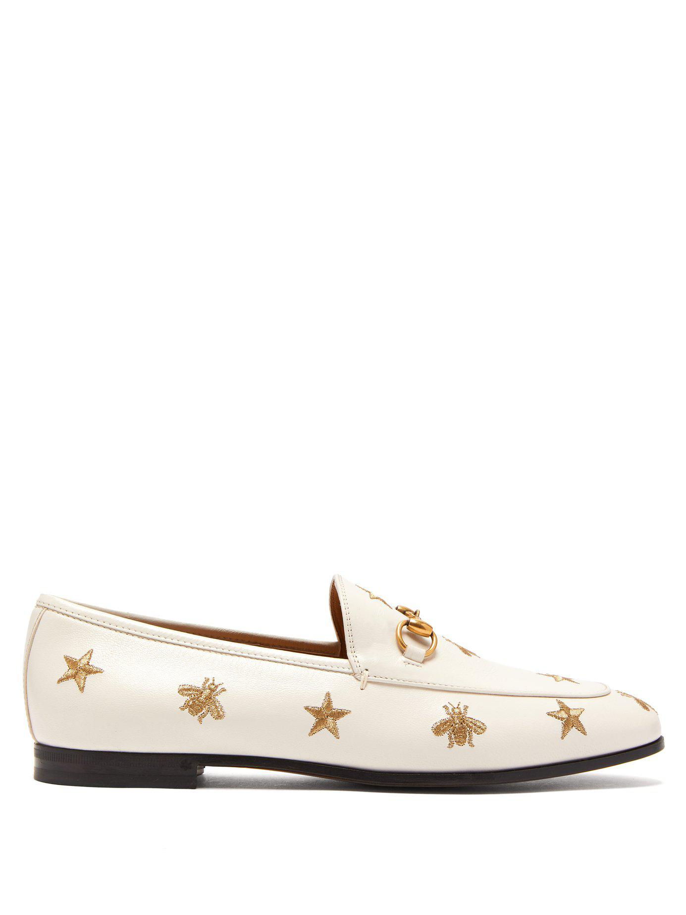 545e68b9ec9 Gucci. Women s New Jordaan Embroidered Leather Loafers