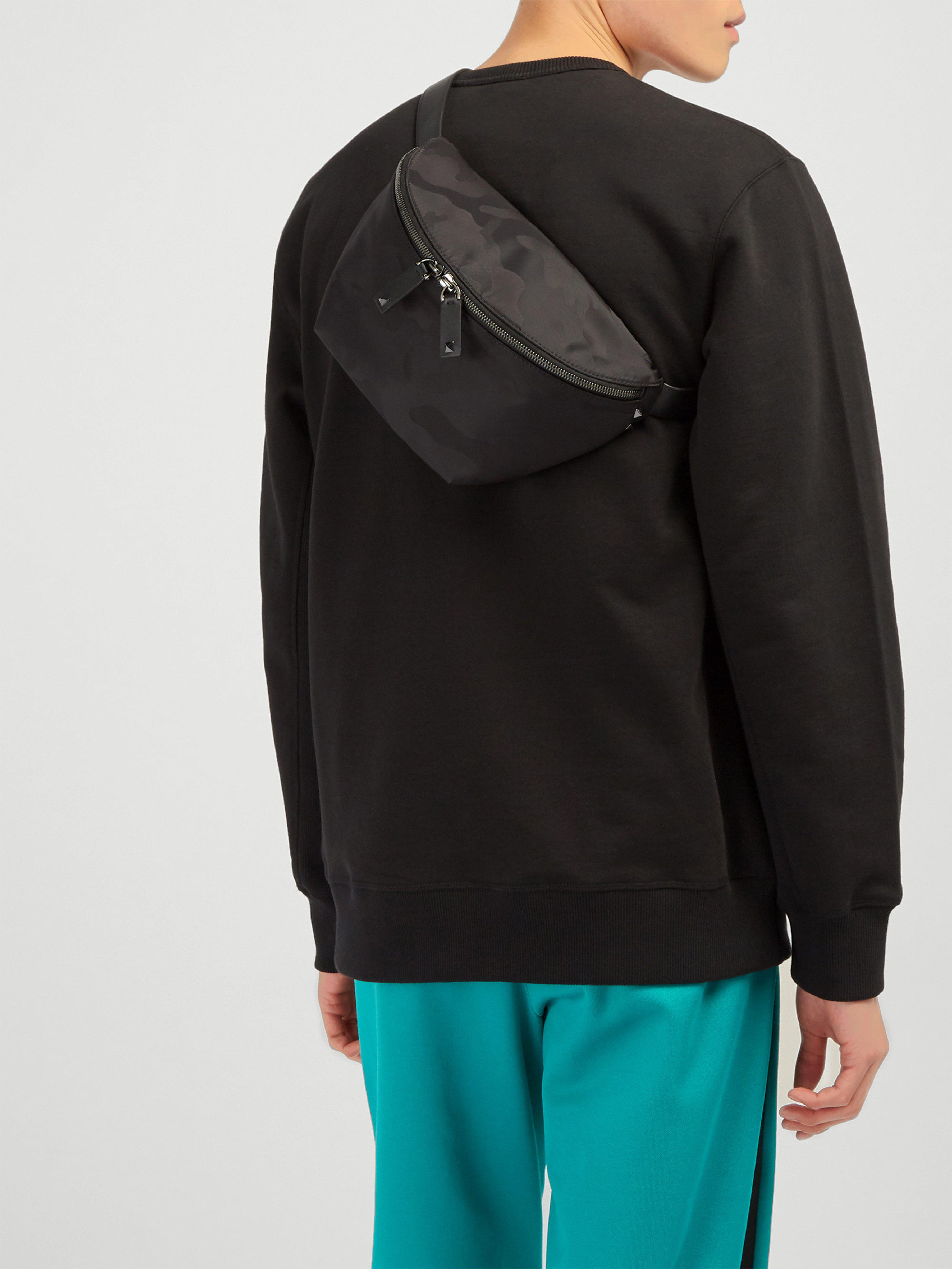 f9667f75624 Valentino Rockstud Camouflage Jacquard Nylon Belt Bag in Black for Men -  Lyst