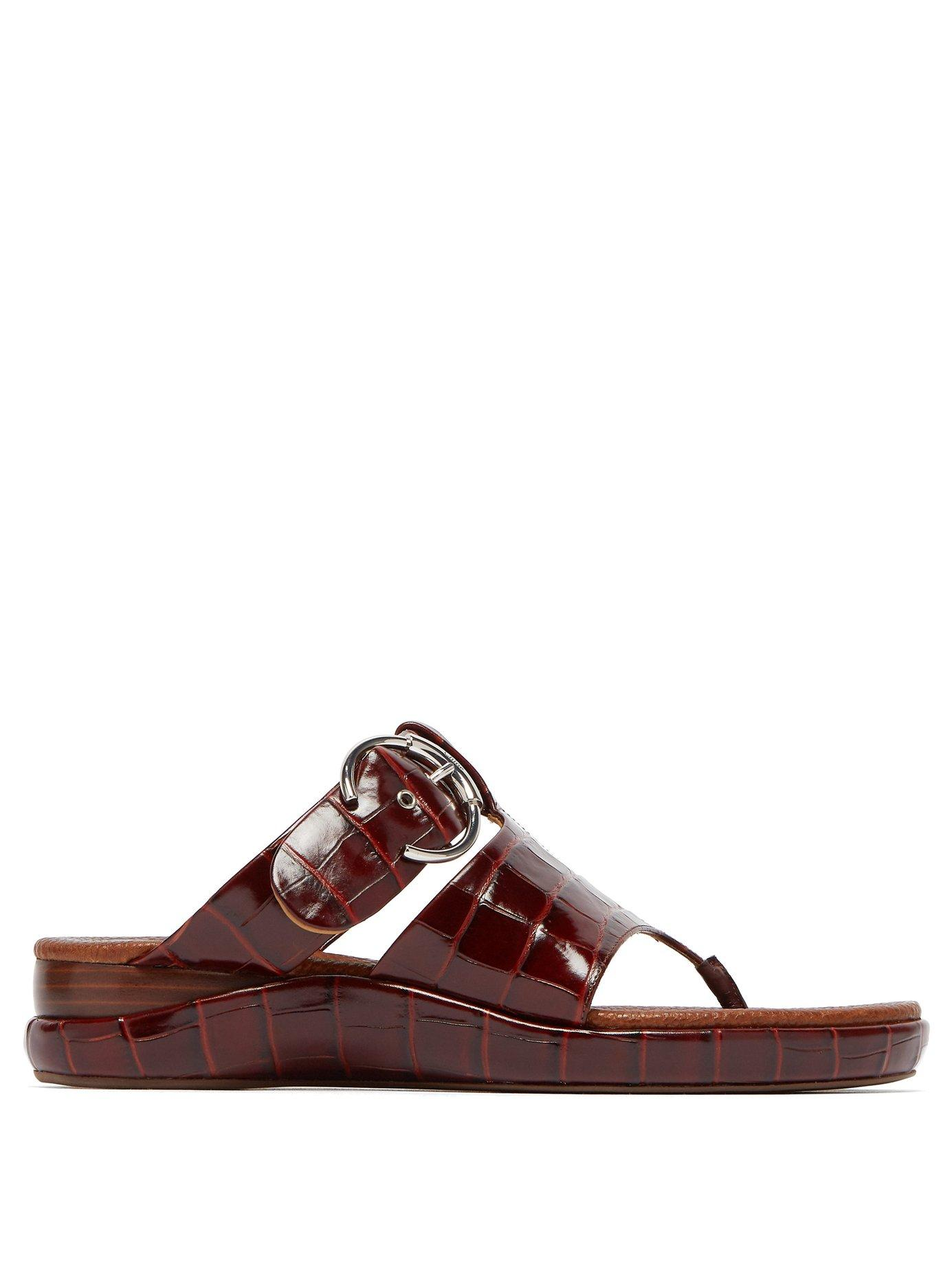 9568206b2 Lyst - Chloé Crocodile Embossed Asymmetric Leather Sandals in Brown