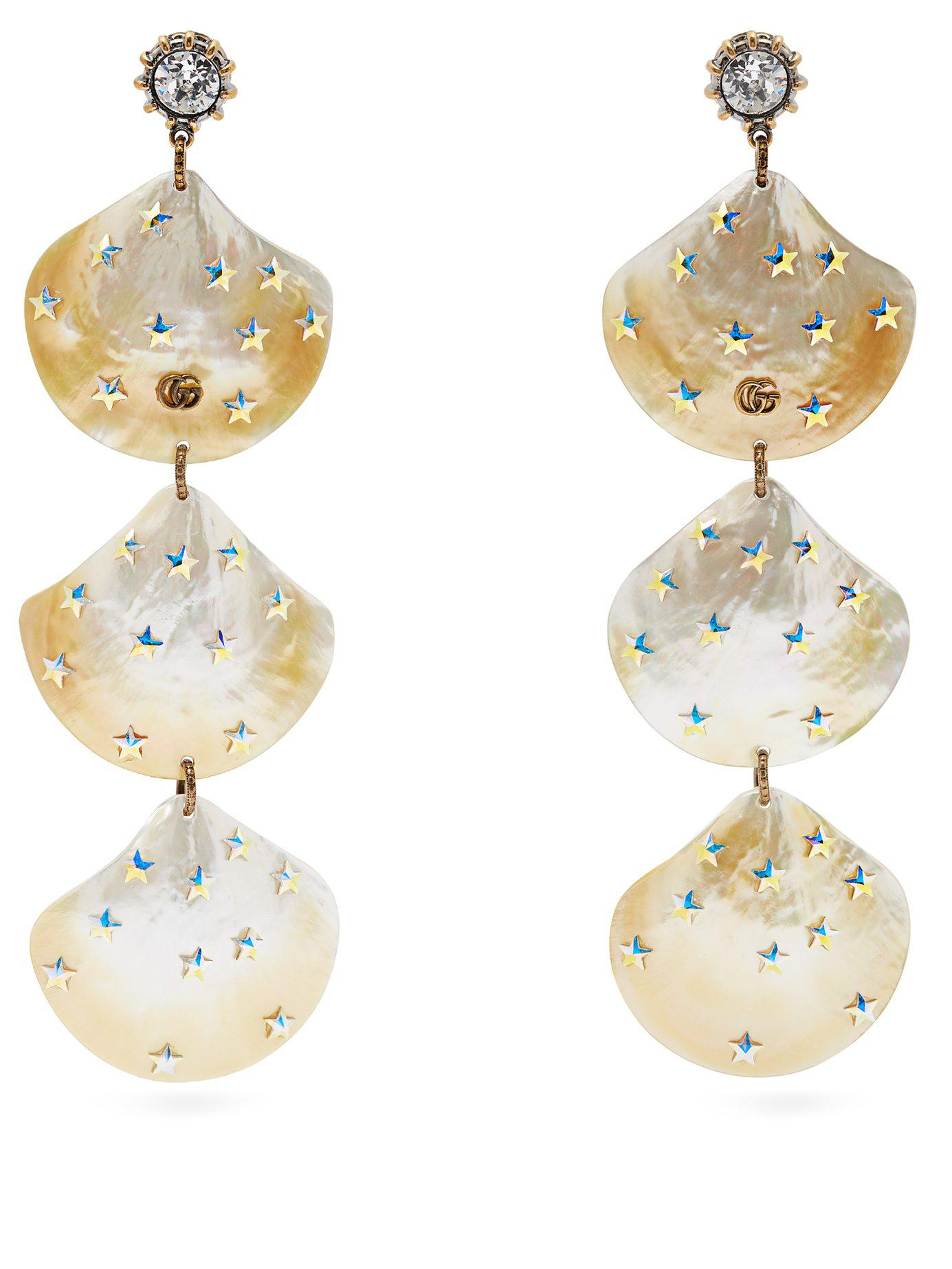 c3af5665d92 Lyst - Gucci Gg Mother Of Pearl Shell Drop Earrings in Metallic