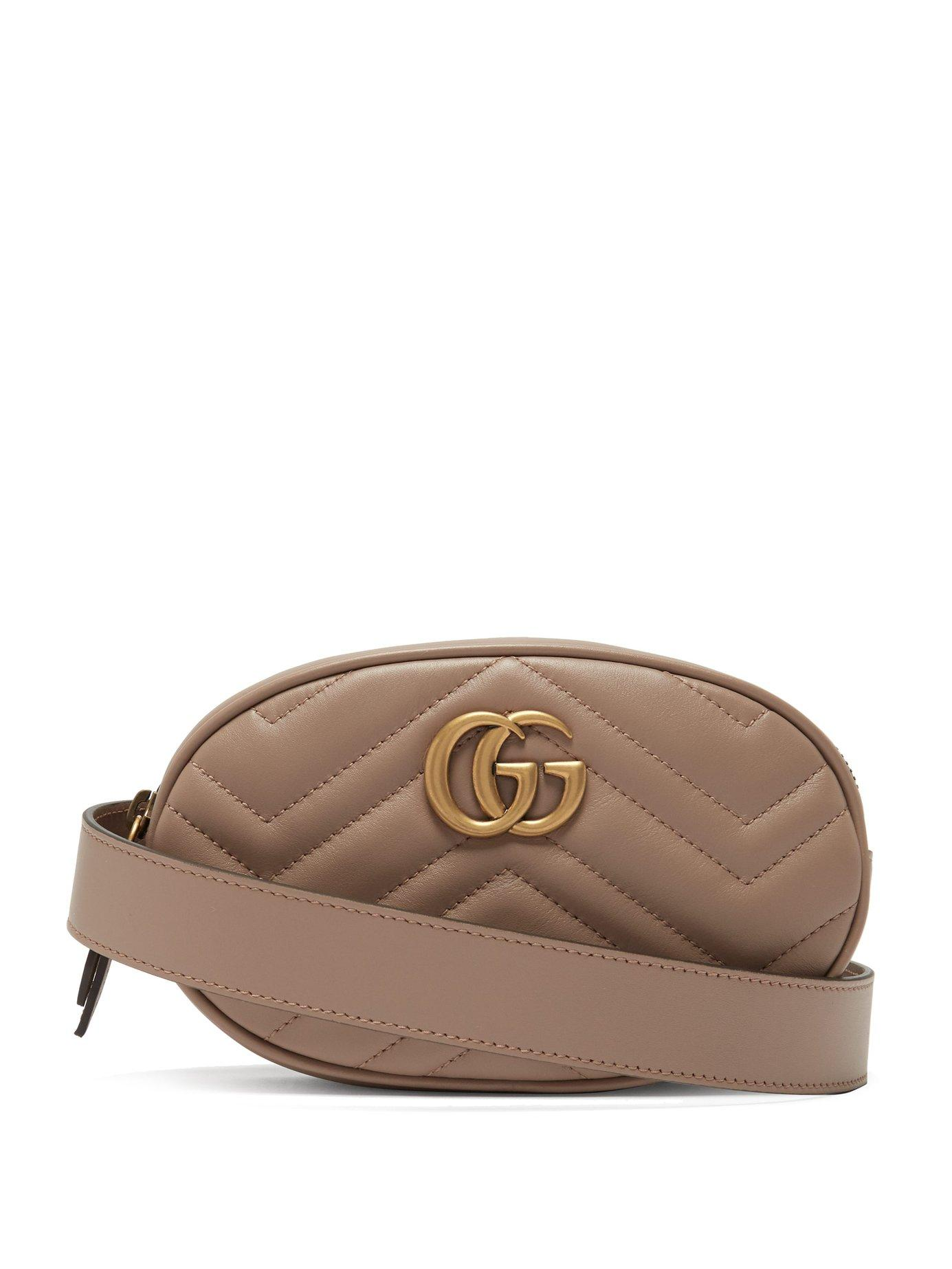 cf1917d4e2d Lyst - Gucci Gg Marmont Quilted Leather Belt Bag in Brown