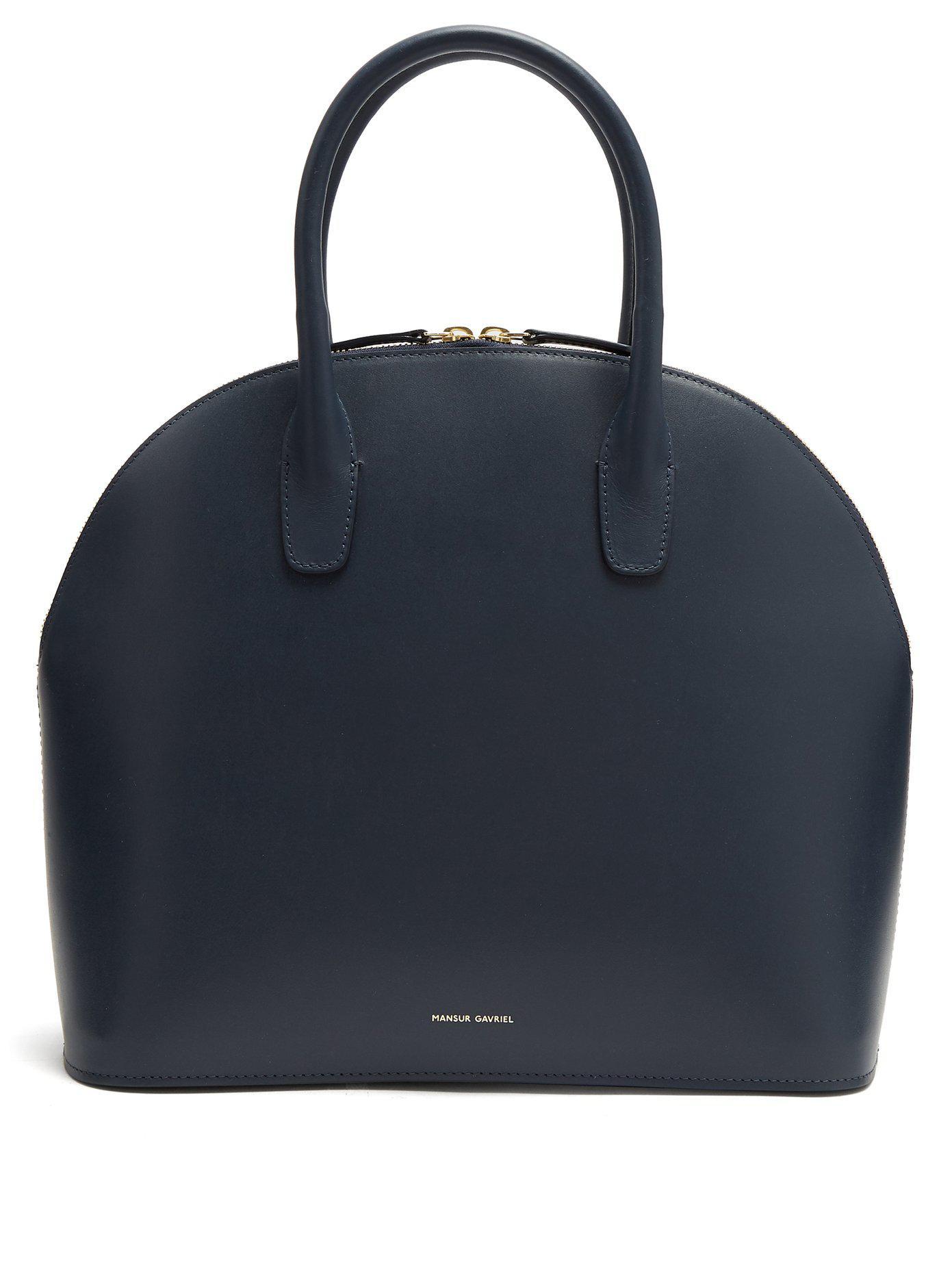 Navy-lined top-handle leather bag Mansur Gavriel XjGbIbuYr