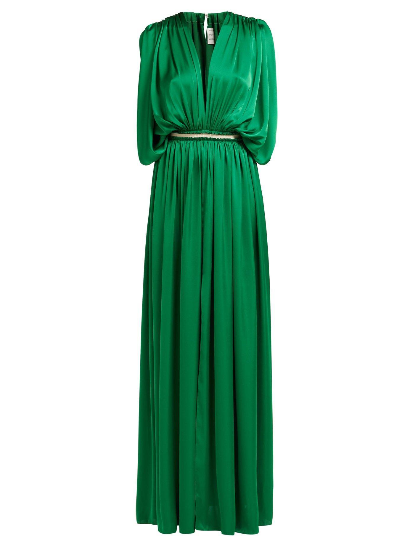 22ebc36244da1 Lyst - Maison Rabih Kayrouz Draped Charmeuse Gown in Green