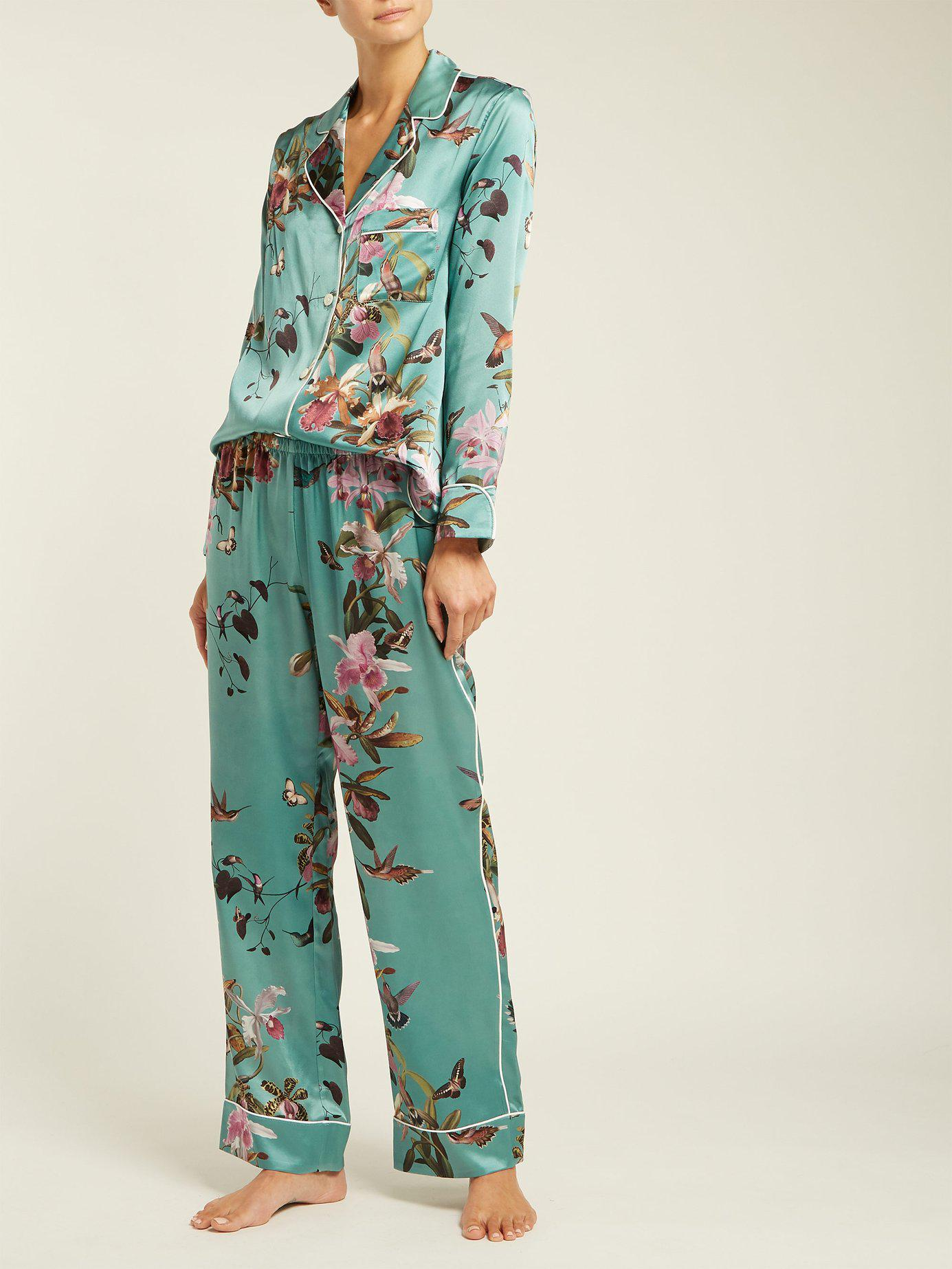 989013baca Morpho + Luna - Blue Colette Floral Print Silk Pyjamas - Lyst. View  fullscreen