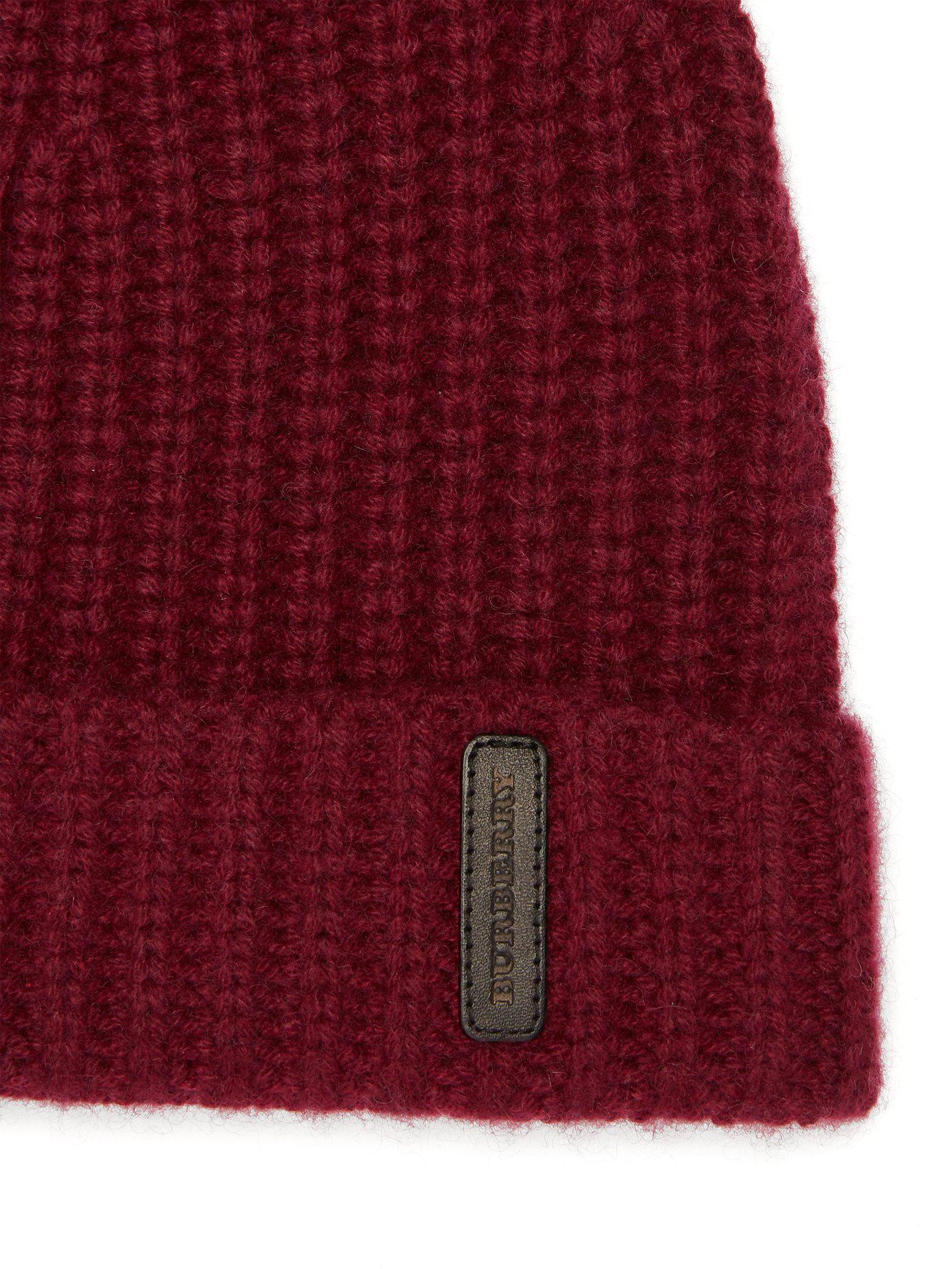 69c533f70dc Burberry Logo Patch Cashmere Beanie for Men - Lyst