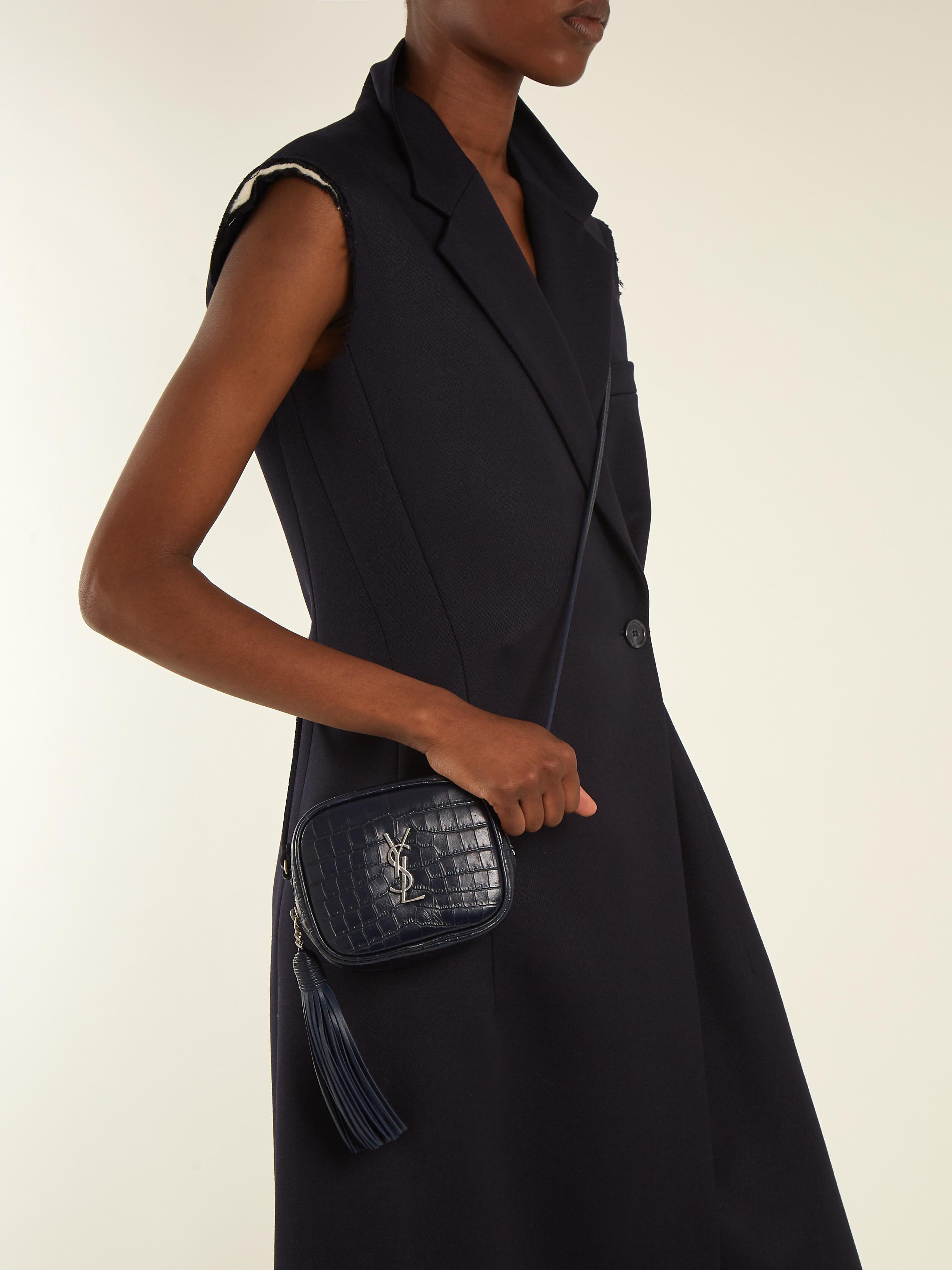 6fbc4be900d Saint Laurent Monogram Blogger Leather Cross-body Bag in Blue - Lyst