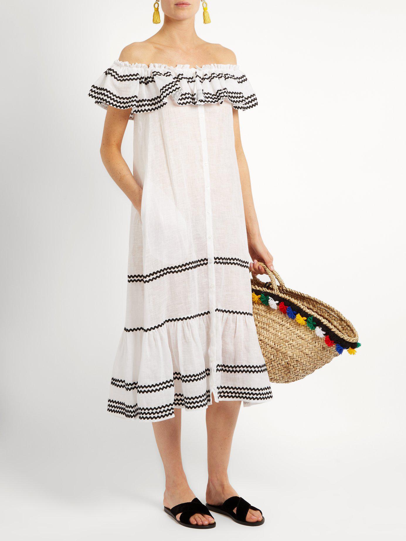 a656573da6 Lyst - Lisa Marie Fernandez Mira Ruffle Trimmed Button Through Linen Dress  in White
