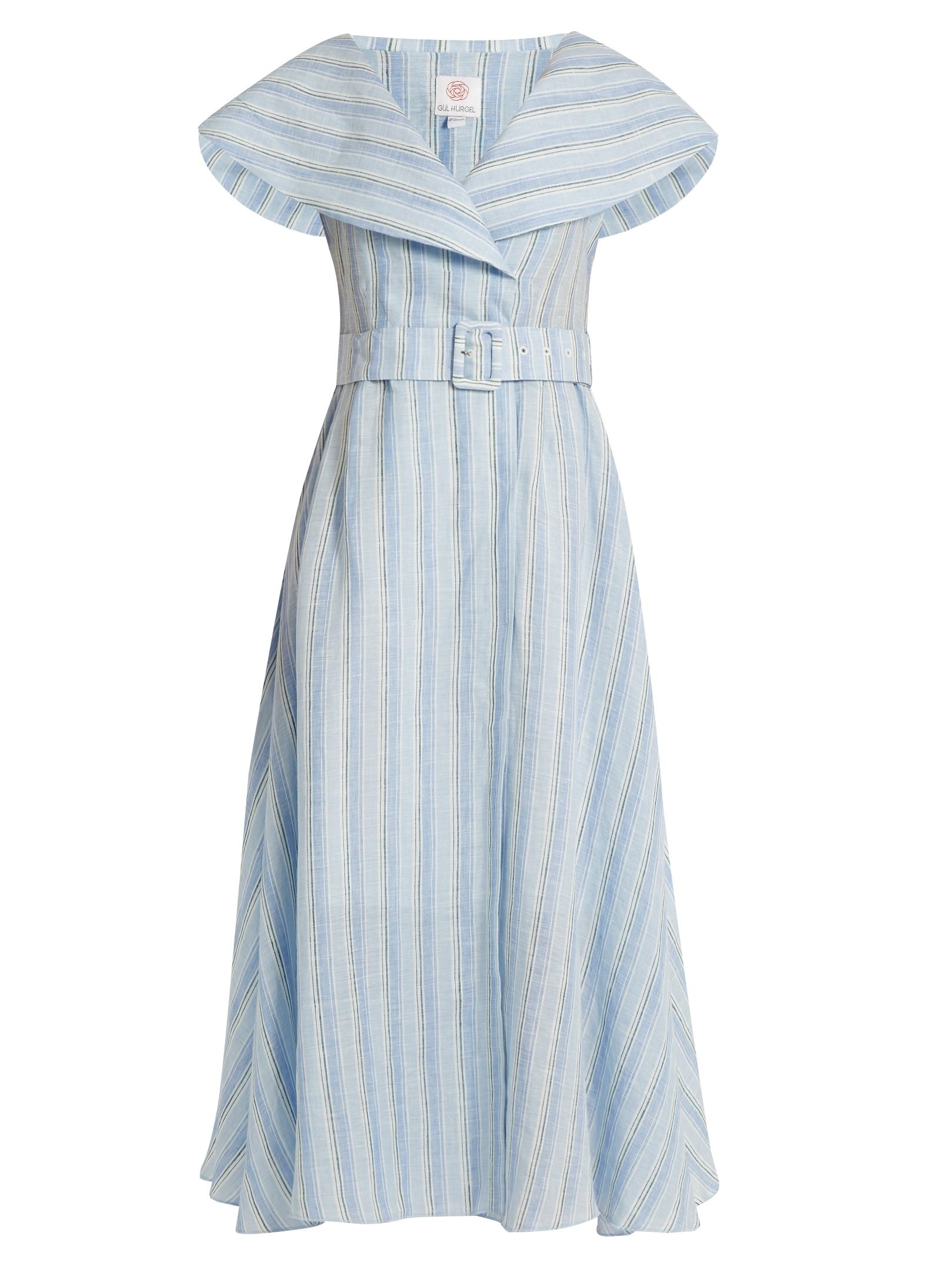 5cbcc743 Gül Hürgel V-neck Sailor-collar Striped-linen Dress in Blue - Lyst
