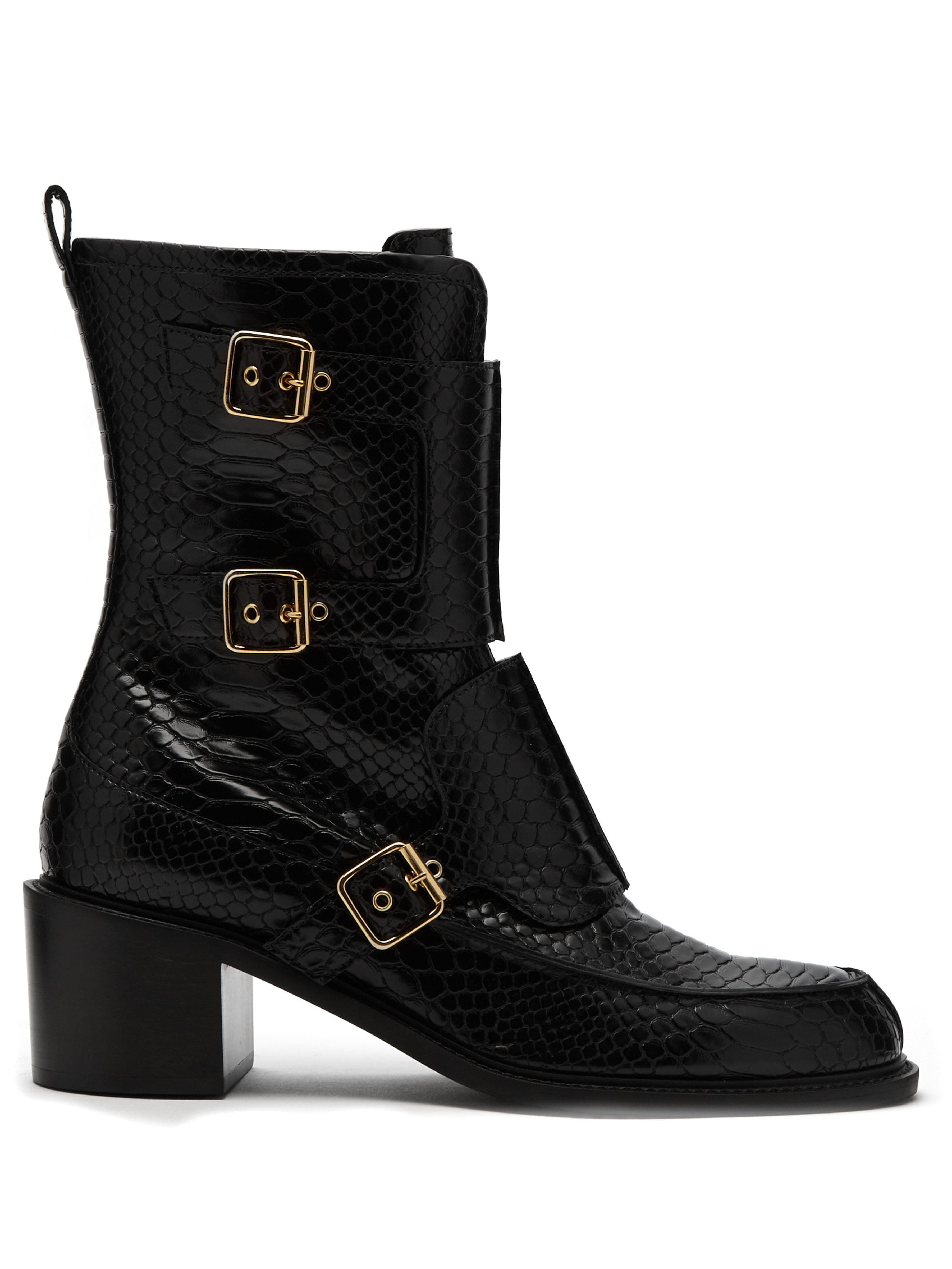cd713ceda8b Stella McCartney Crocodile Effect Faux Leather Boots in Black - Save ...