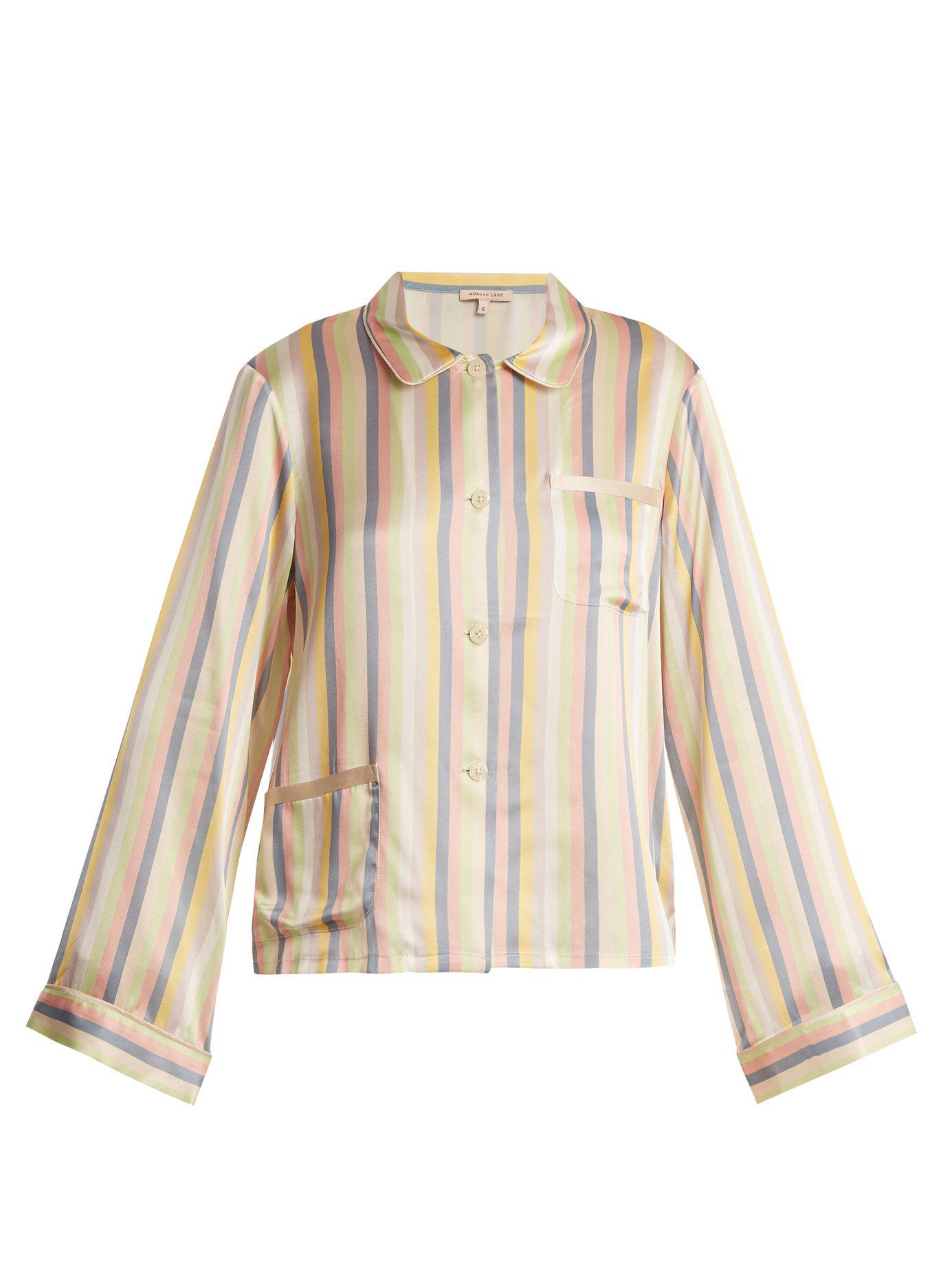Lyst - Morgan Lane Ruthie Striped Silk Pyjama Top in Natural 932a2f4b6