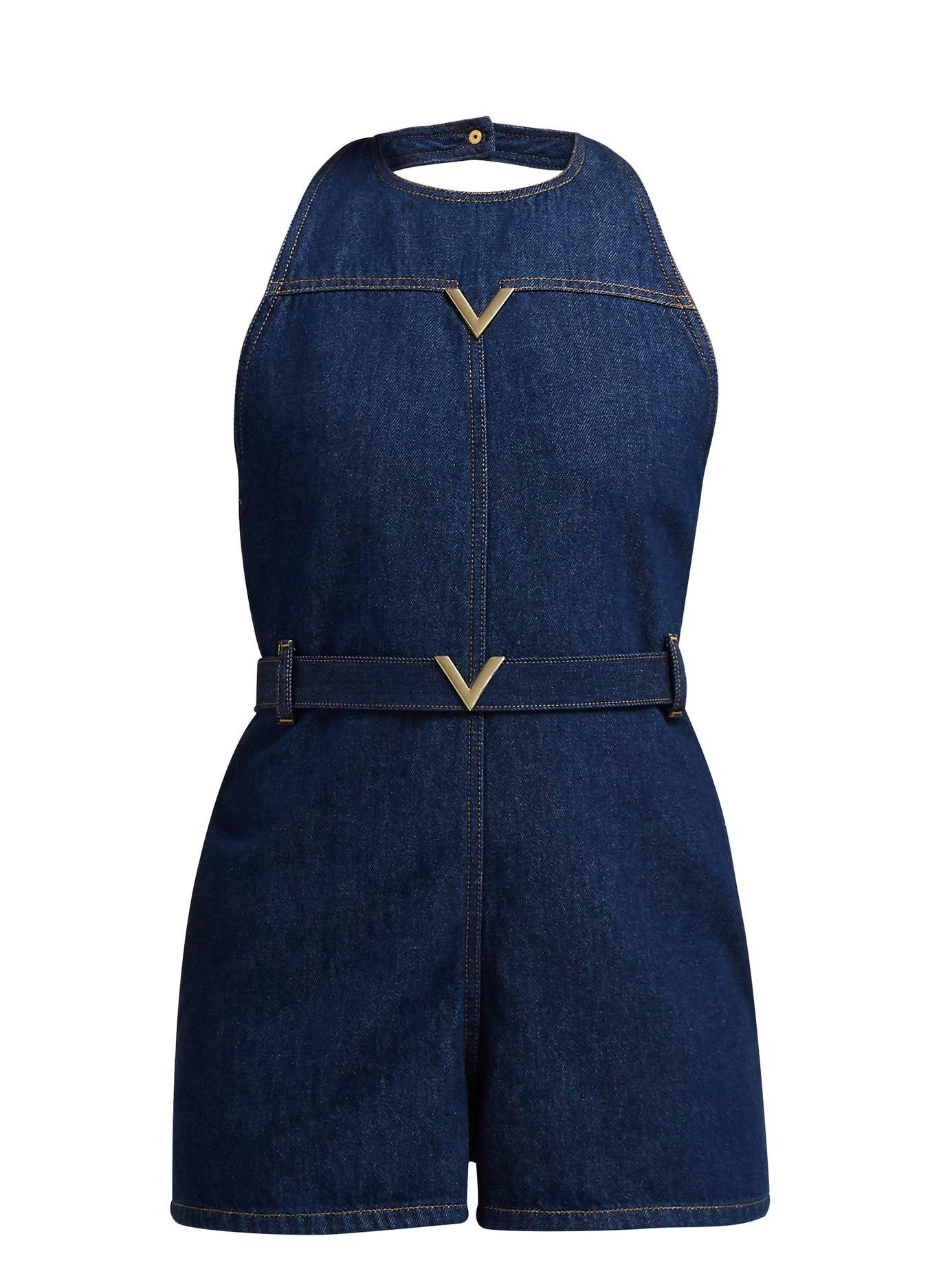 e37a3fb02f Lyst - Valentino V Plaque Halterneck Denim Playsuit in Blue