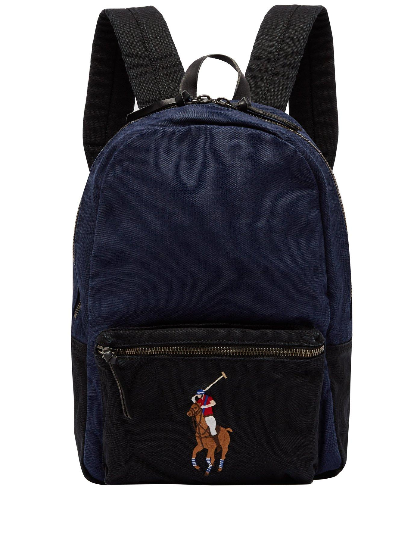 9a08373bdc Lyst - Polo Ralph Lauren Logo Embroidered Canvas Backpack in Blue ...
