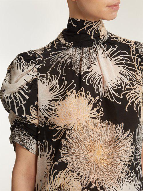 de N de fruncidas ° y Blusa seda 21 con crisantemo mangas estampado UOwdTzq0