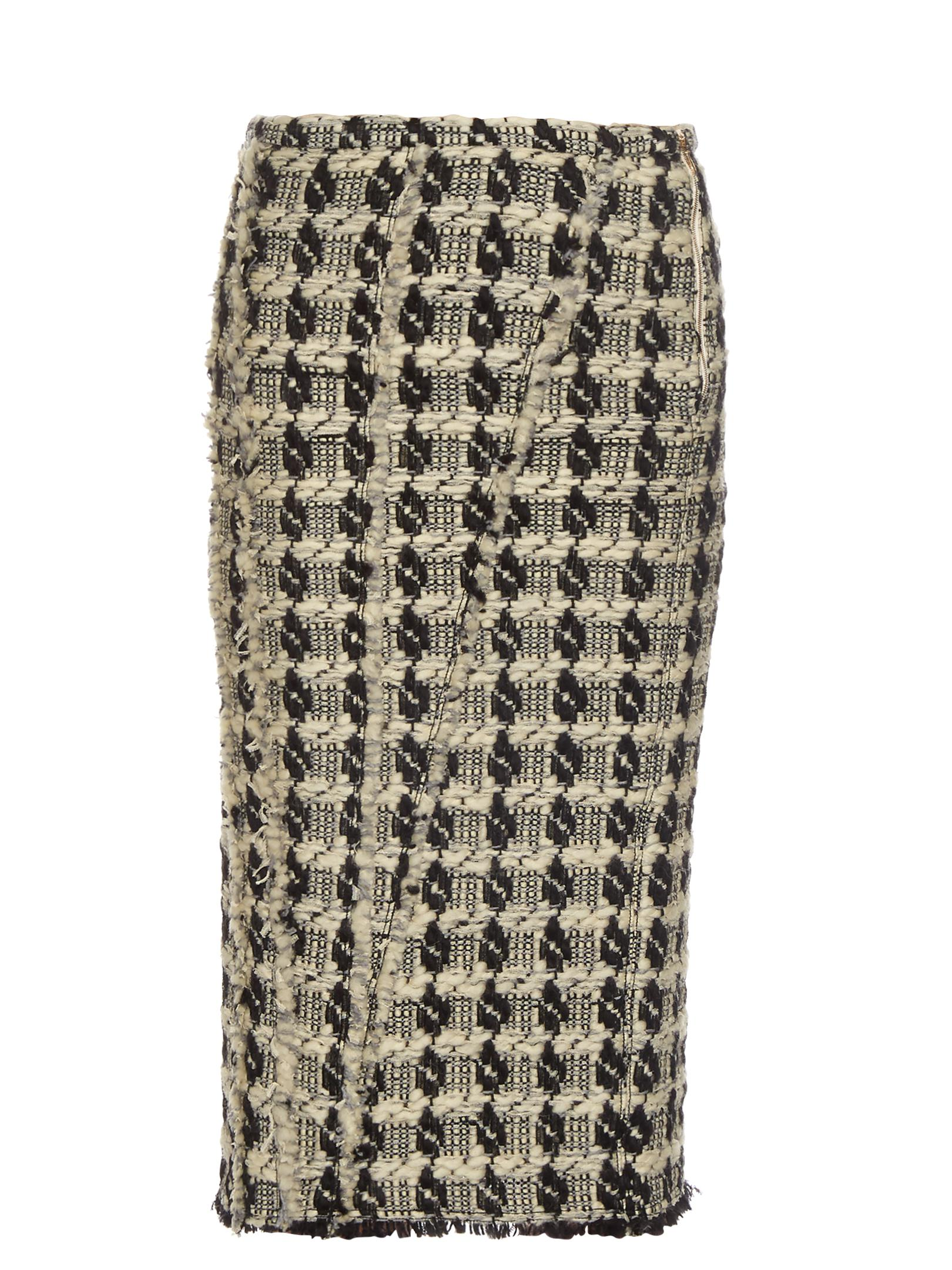 5d0fc8b37 Lyst - Rochas Tweed-checked Pencil Skirt in White