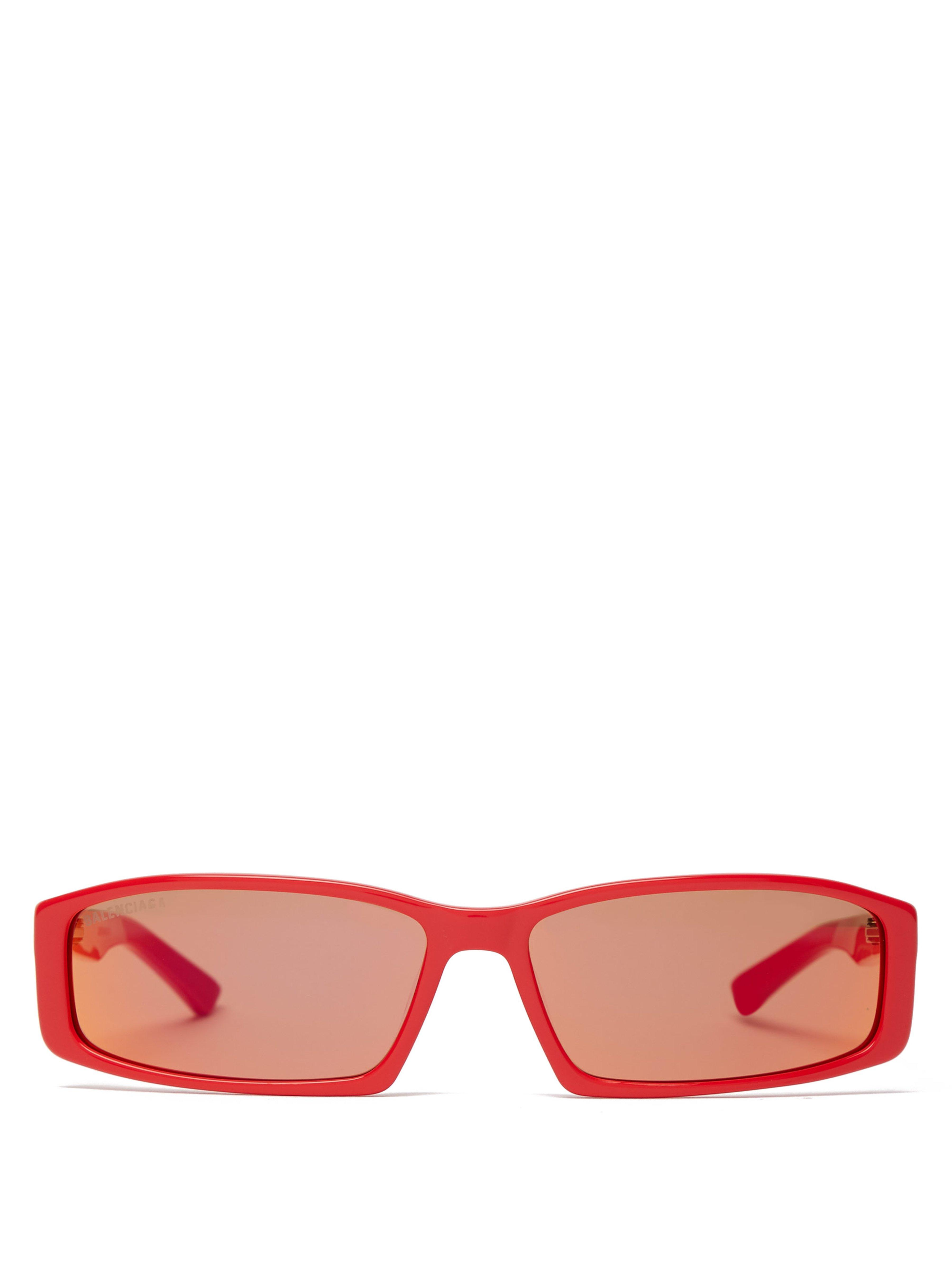 ae0ba511d5 Balenciaga Rectangle Frame Acetate Sunglasses in Red for Men - Lyst