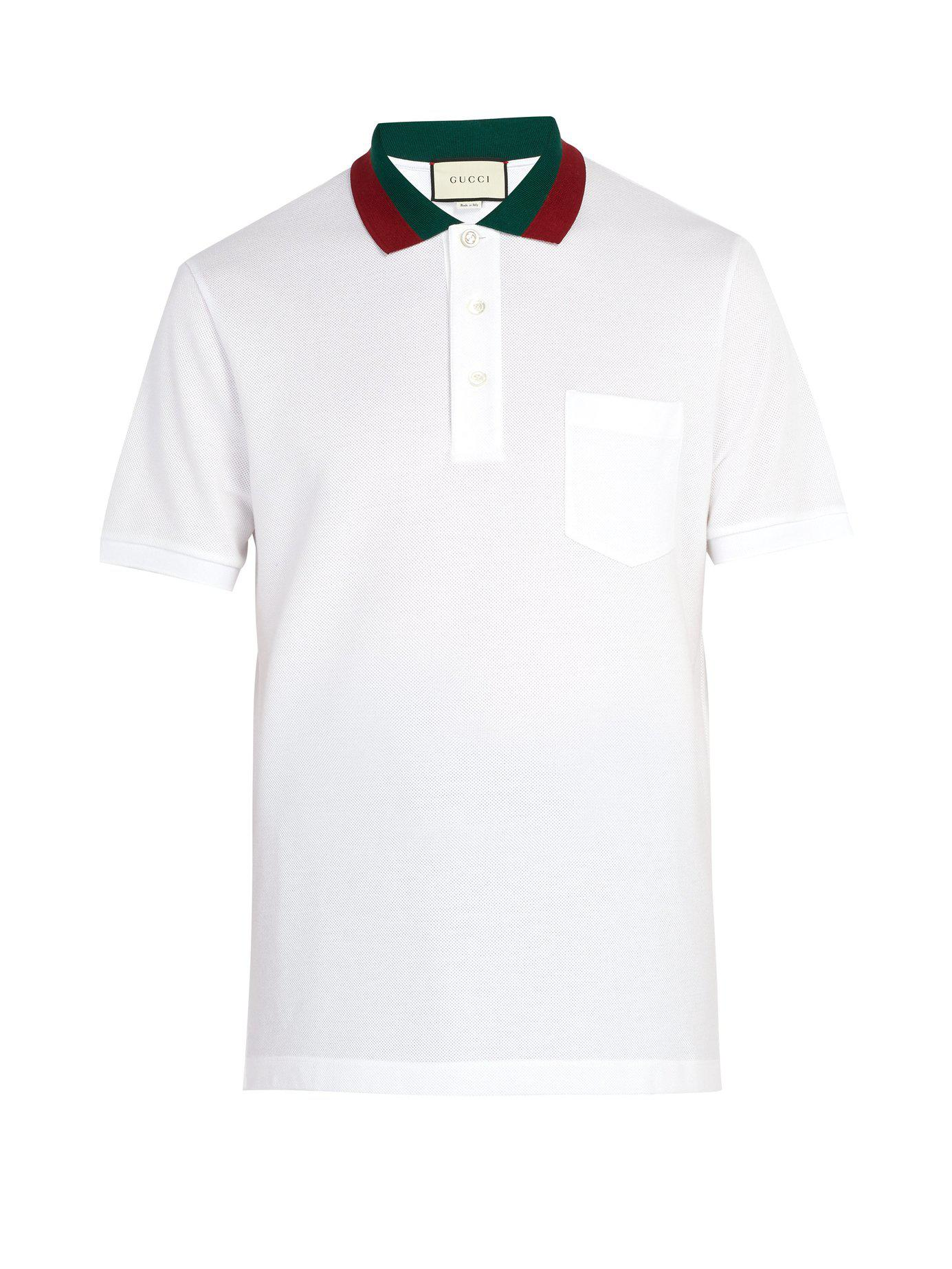 dfb0d117a2f Gucci Web Stripe Trimmed Cotton Piqué Polo Shirt in White for Men - Lyst