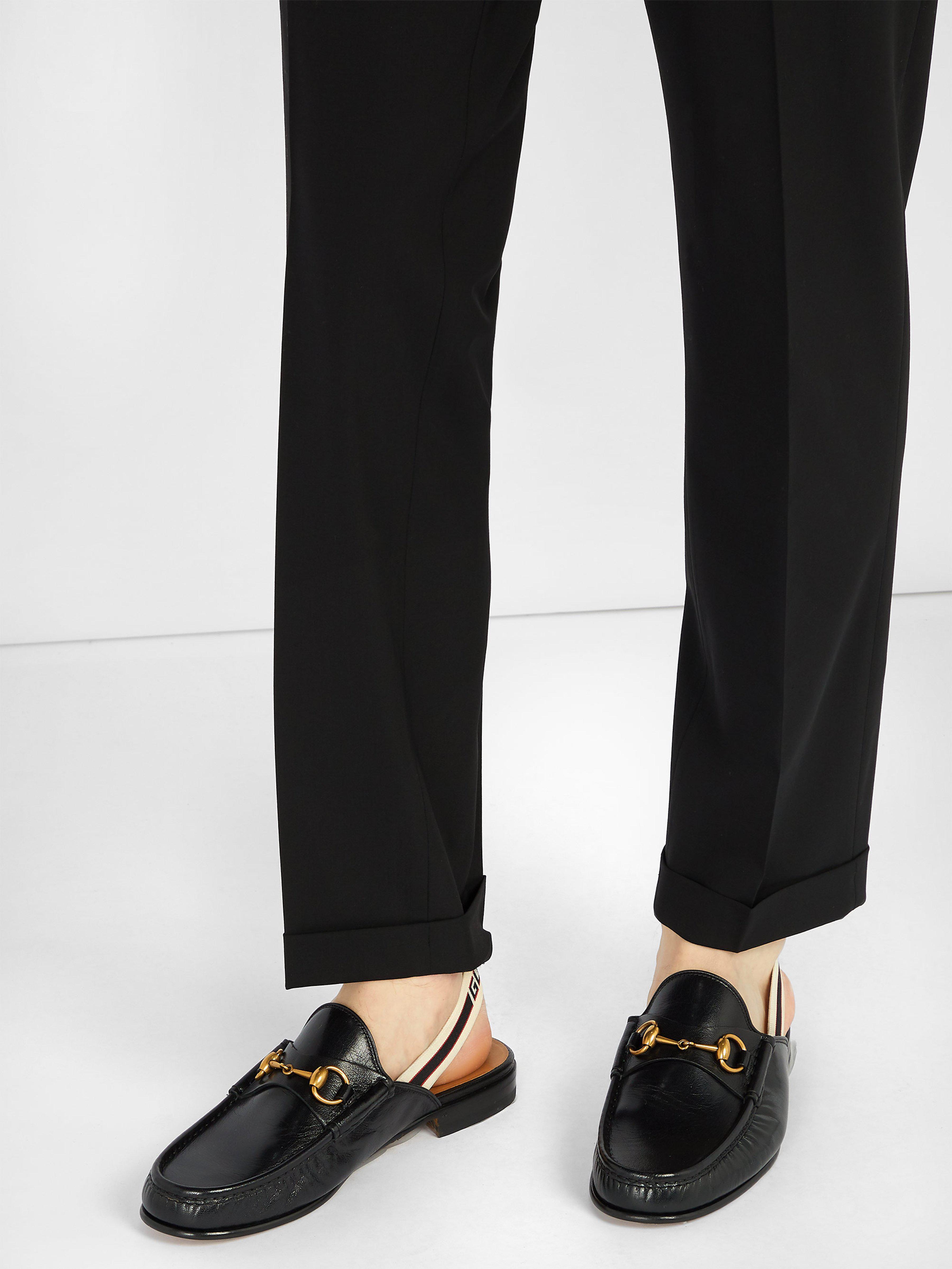 357757c6f95 Gucci - Black Horsebit Slingback Strap Backless Leather Loafers for Men -  Lyst. View fullscreen