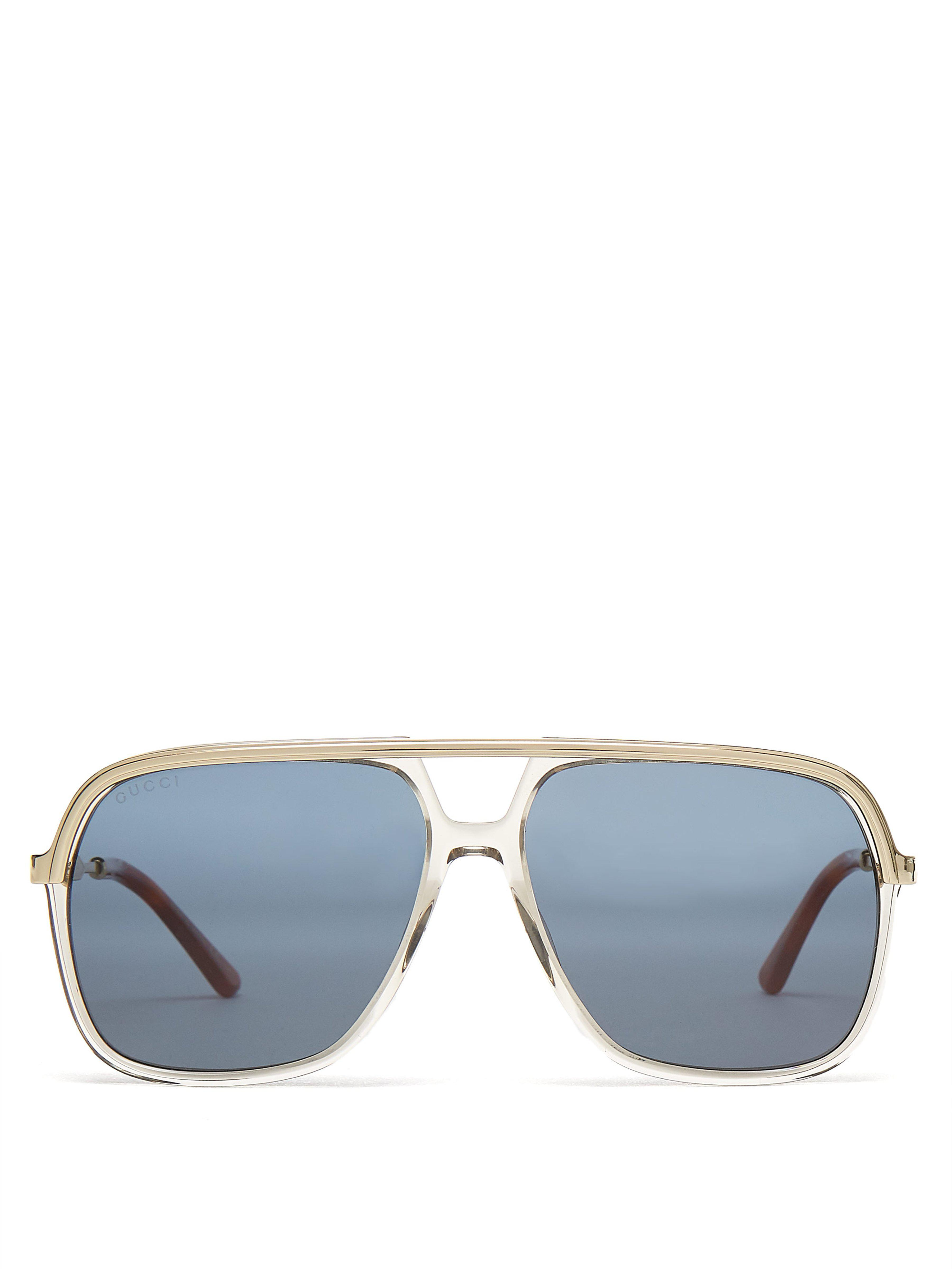 b70c5d4c56d Gucci Rectangular Frame Acetate And Metal Sunglasses in Brown for ...