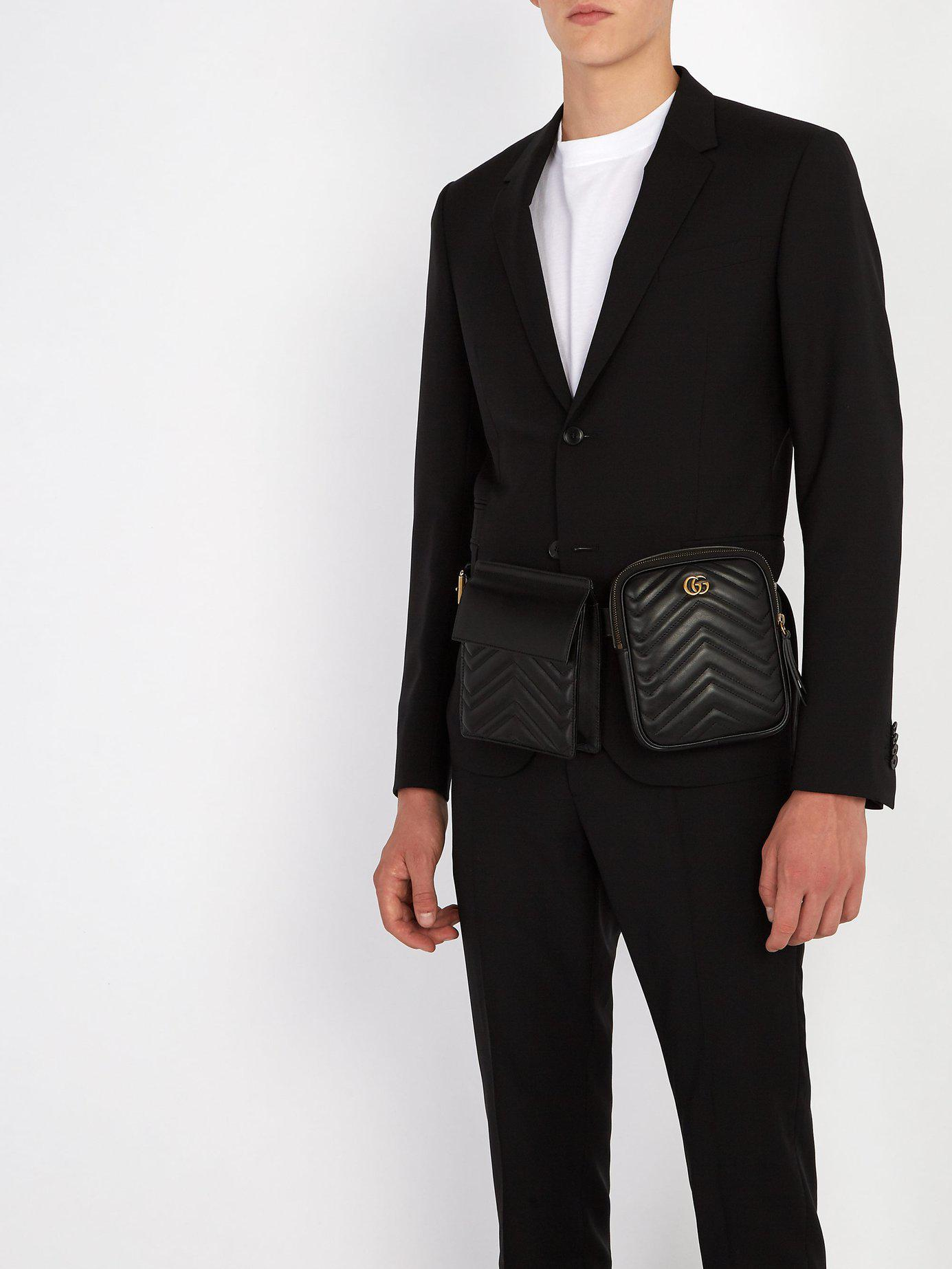 95907758d86 Lyst - Gucci Gg Marmont Leather Belt Bag in Black for Men
