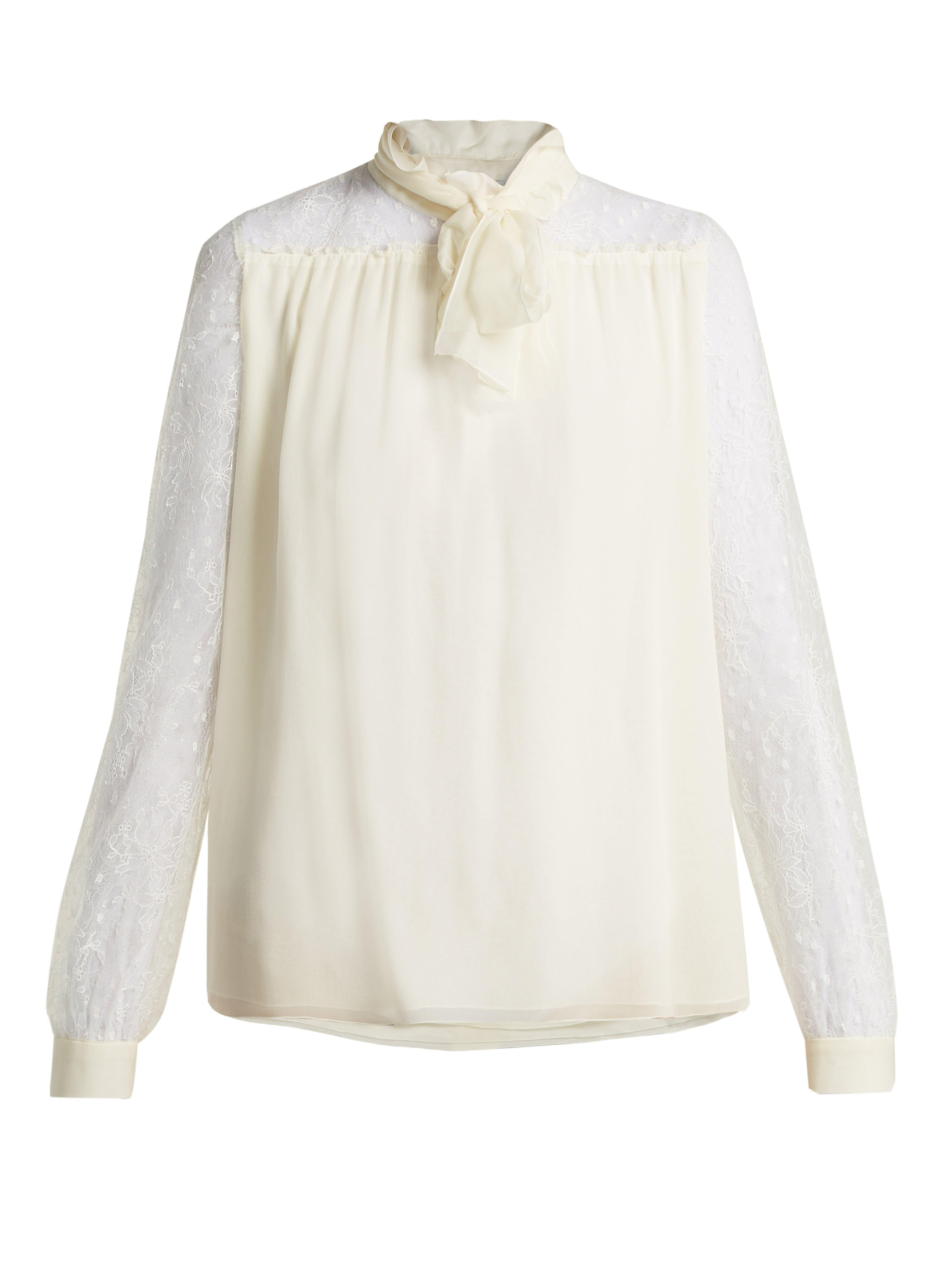 ae74a5bf85355 Giambattista Valli Lace-sleeve Silk Blouse in White - Lyst
