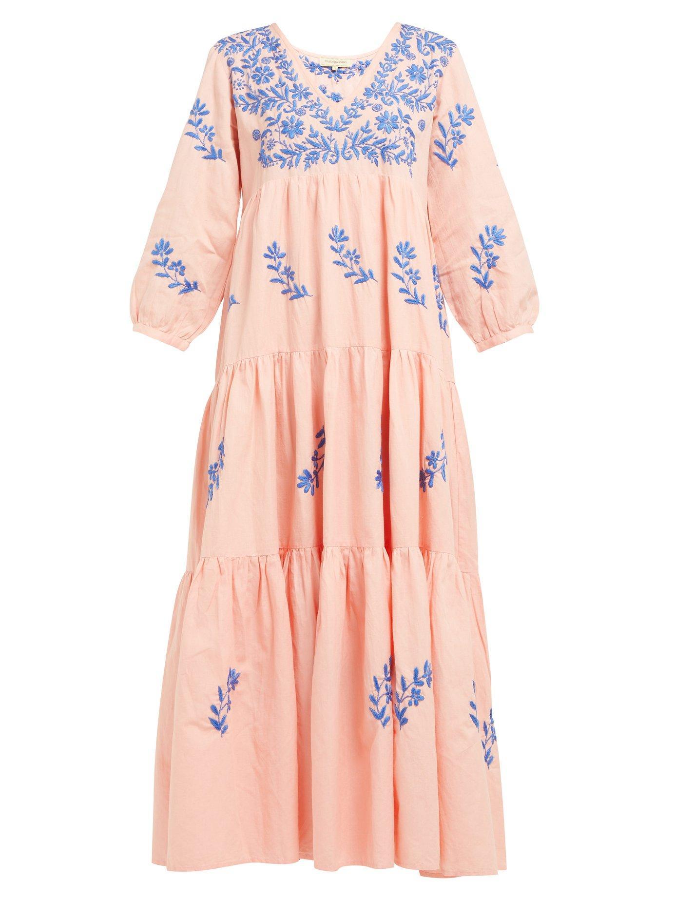 d88e888e8fd Muzungu Sisters. Women s Pink Frangipani Embroidered Cotton-blend Maxi Dress