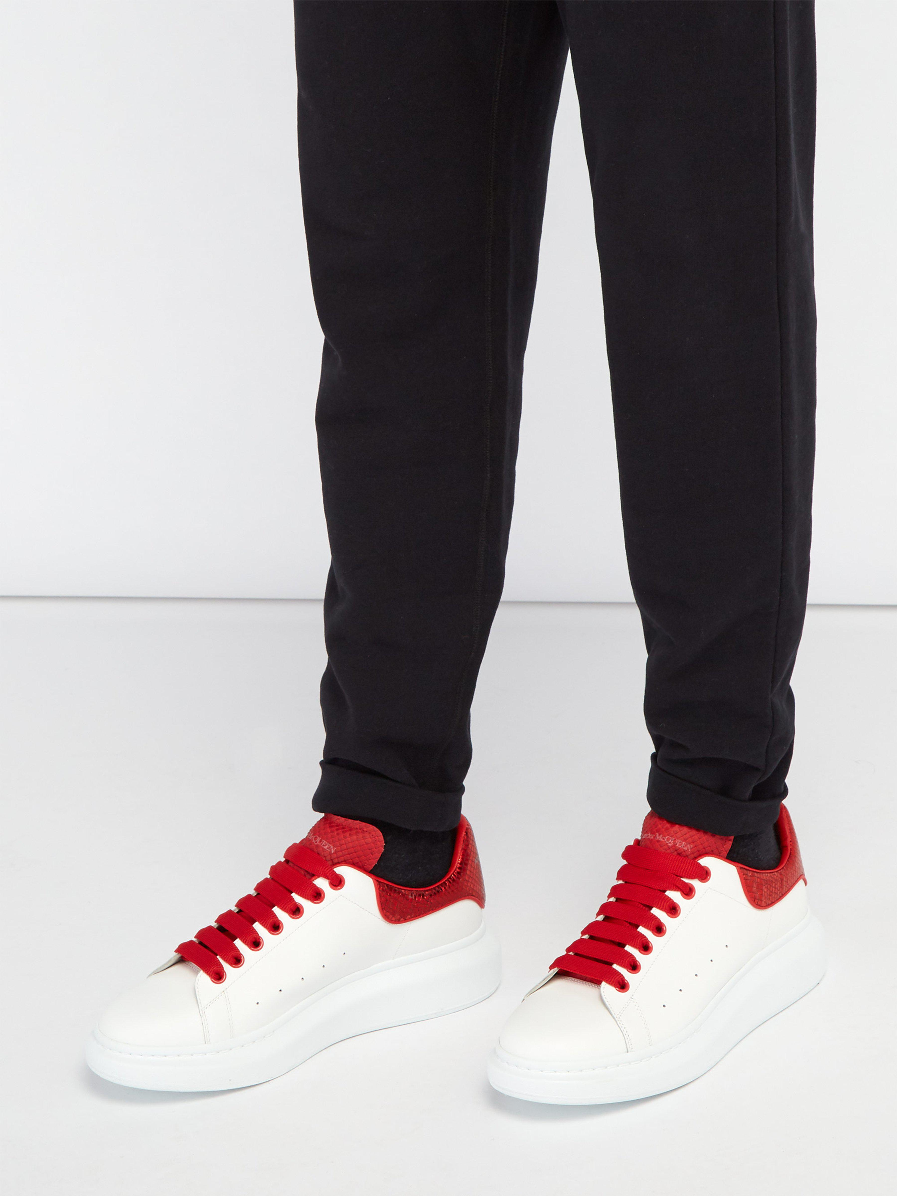 8477662c8ecf6 Alexander McQueen Raised Sole Low Top Leather Trainers in Red for Men - Lyst