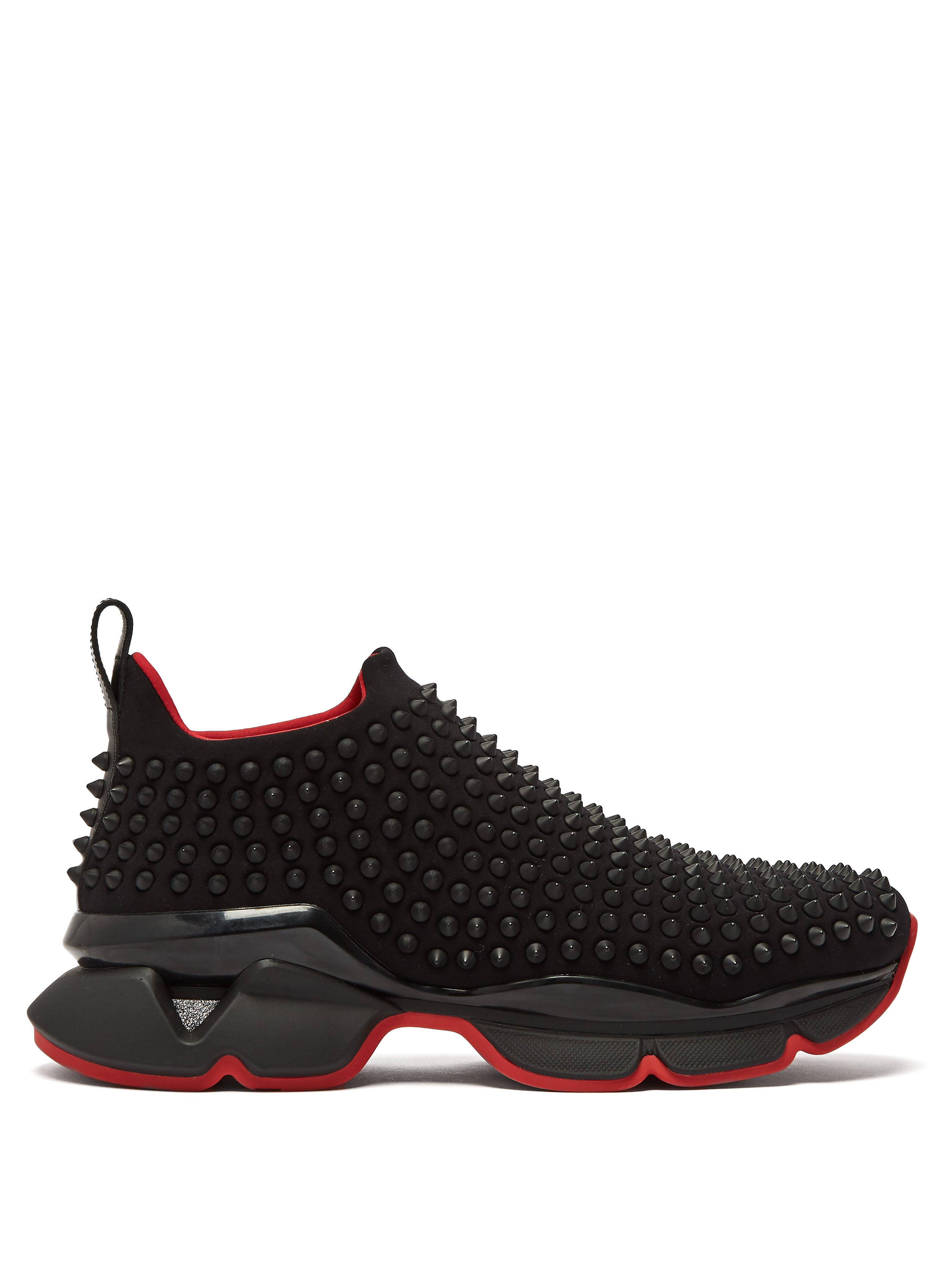 cbcbd1ac4e98 Christian Louboutin Spike Sock Studded Low Top Trainers in Black - Lyst