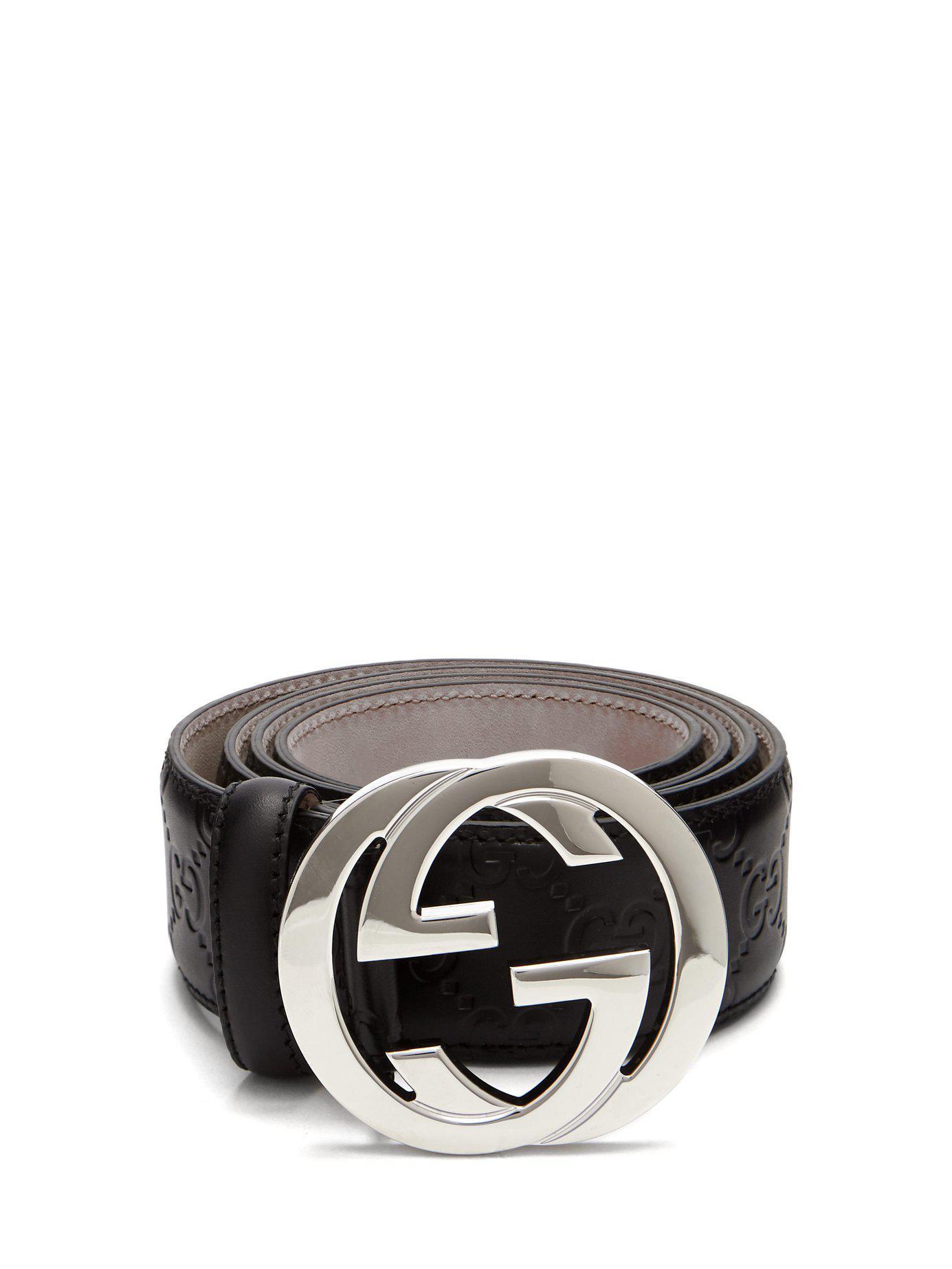 Lyst - Gucci Signature Gg Logo Leather Belt in Black for Men 426a5e58cc1f