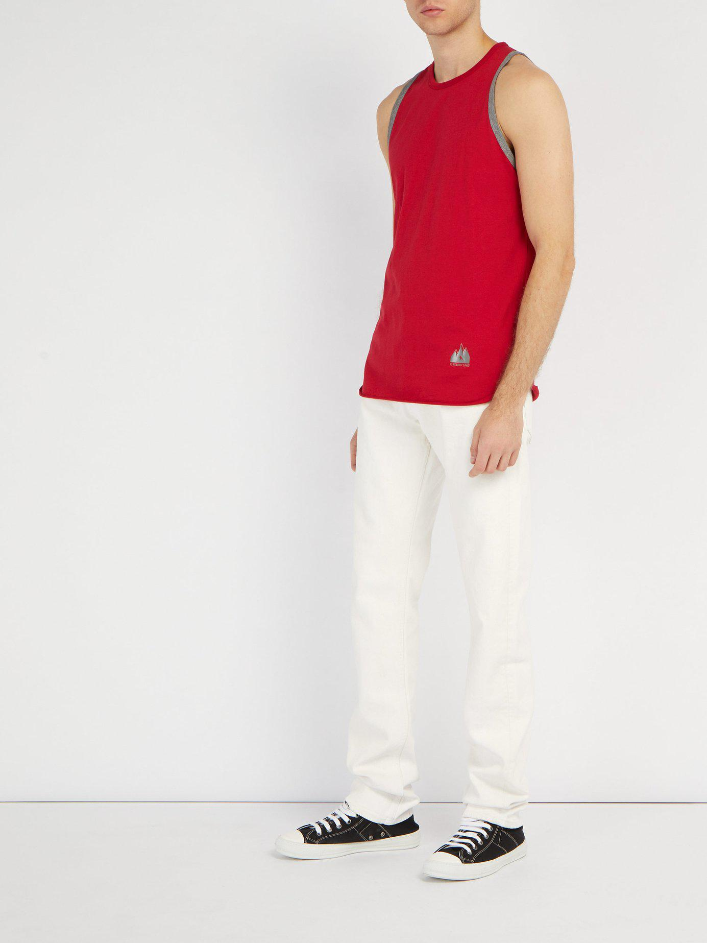 239f24afd1787c Lyst - Helmut Lang Mountain Logo Ringer Cotton Tank Top in Red for Men