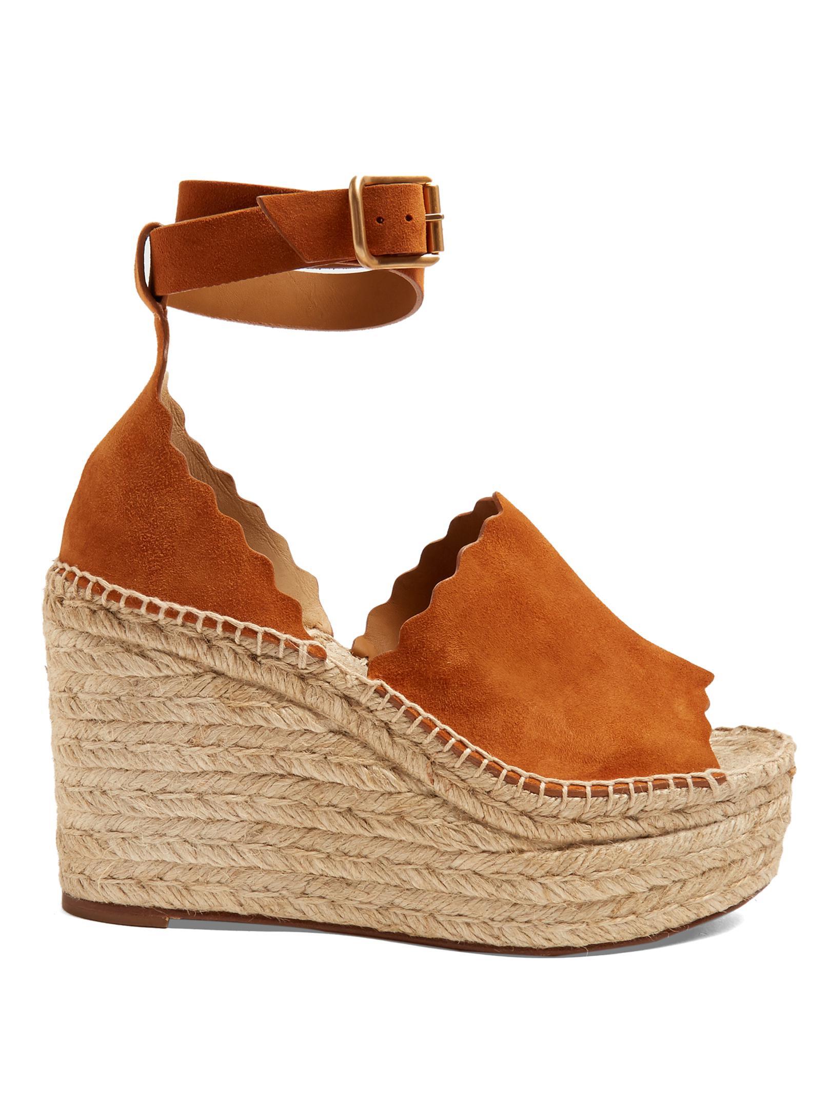 Lyst Chlo 233 Lauren Suede Espadrille Wedge Sandals In Brown
